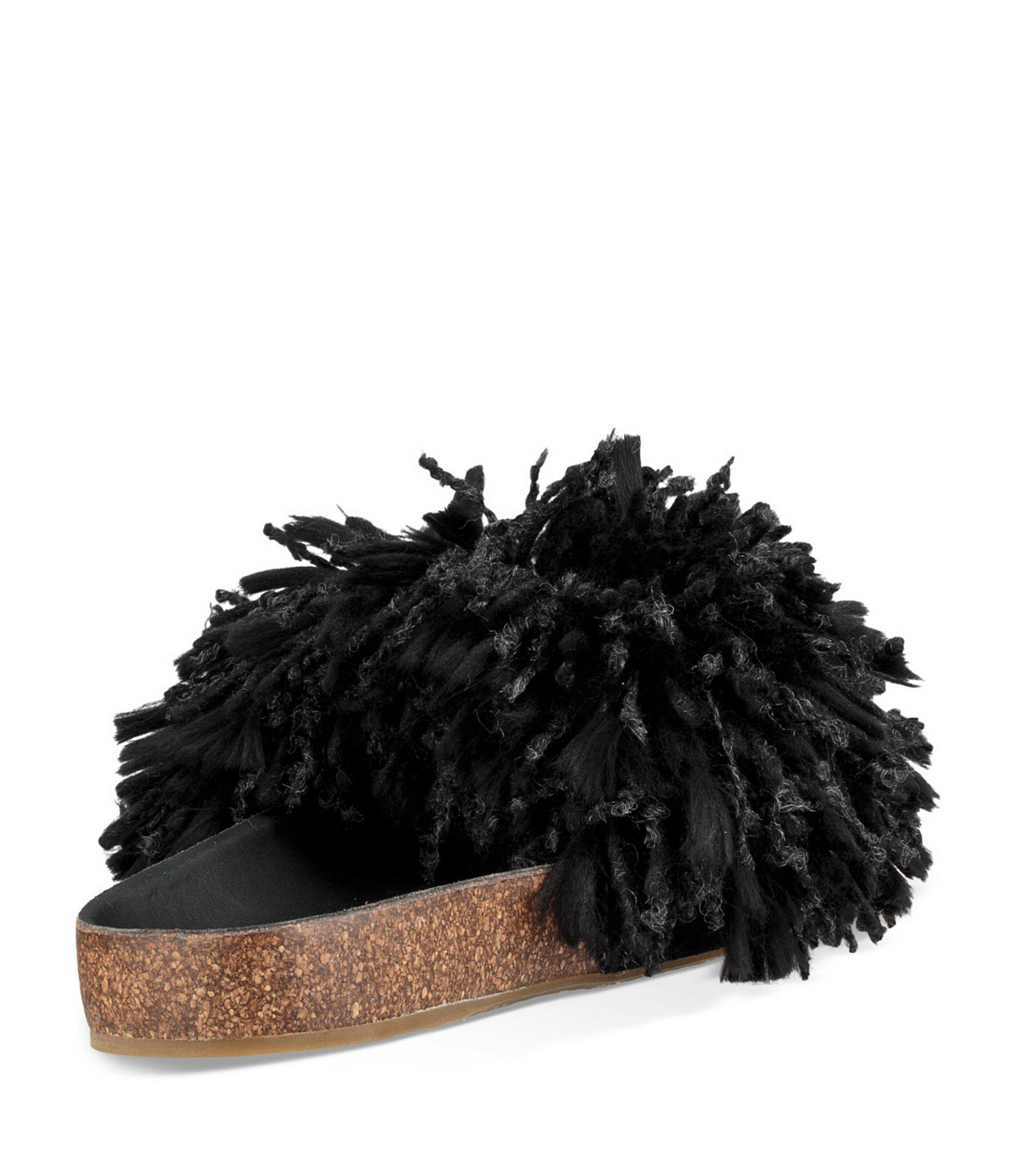 bbb1b0a6cf7 UGG Cindy Suede Yarn Fringe Slides in Black - Lyst