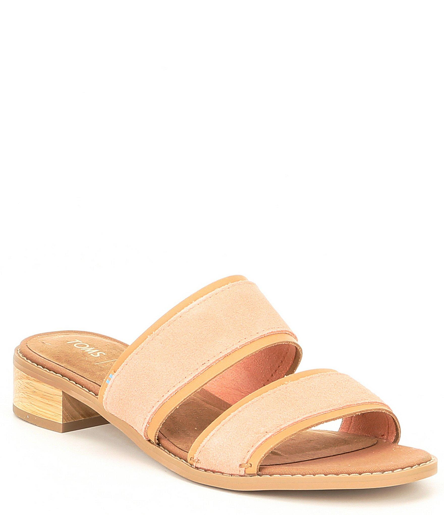 98cd8c1af55 Lyst - TOMS Mariposa Suede Slide Block Heel Sandals in Pink