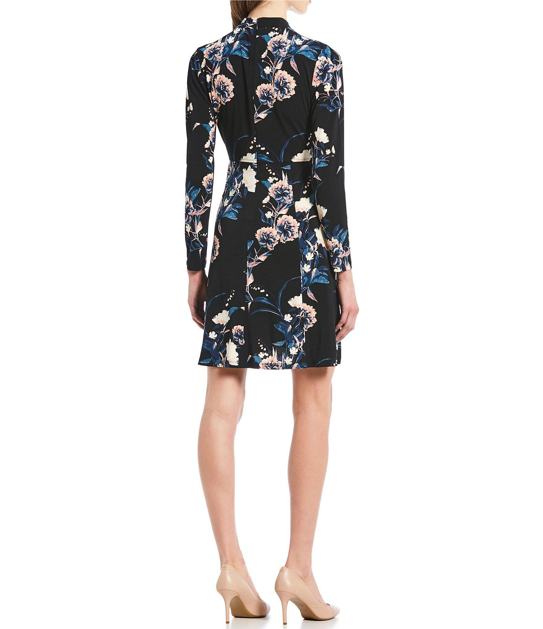 ba0f8dea0a Ivanka Trump - Black Floral Print Mock Neck A-line Dress - Lyst. View  fullscreen