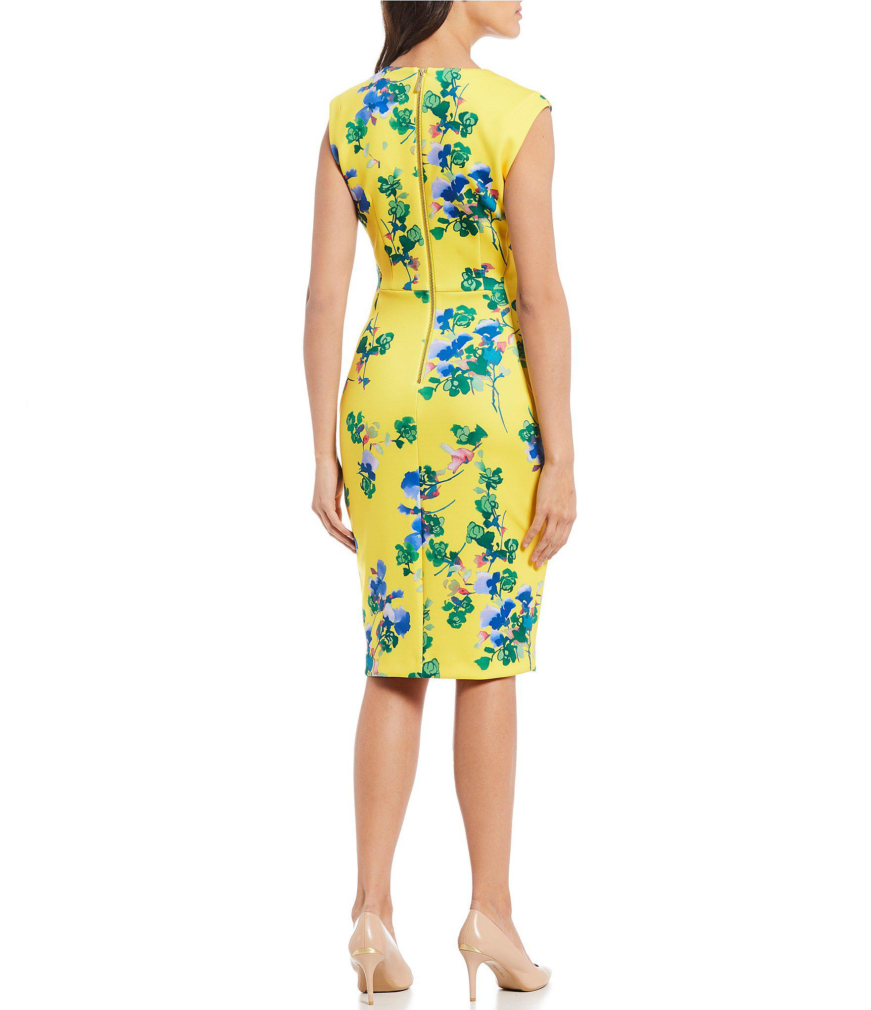 3f2b2a37e13 Calvin Klein - Yellow Floral Print V-neck Sheath Dress - Lyst. View  fullscreen