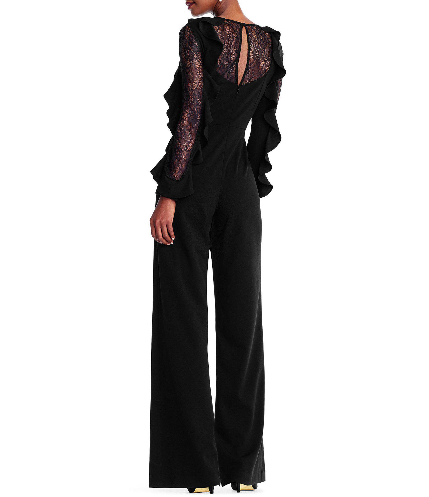 ec1655192dc Adrianna Papell - Black Ruffled Sleeve Jumpsuit - Lyst. View fullscreen