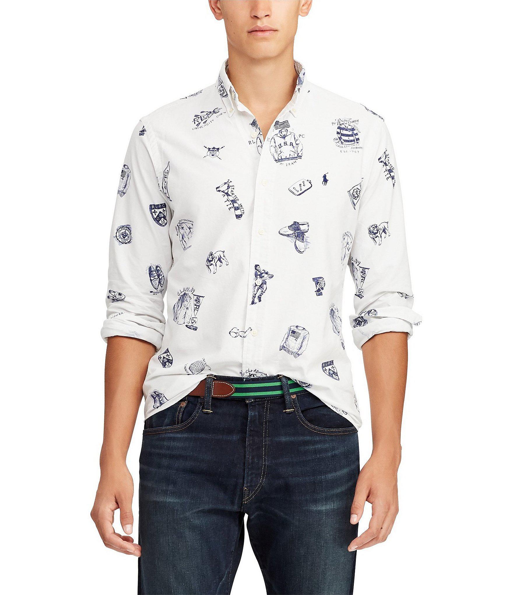 4116d451 Lyst - Polo Ralph Lauren Printed Oxford Long-sleeve Woven Shirt for Men