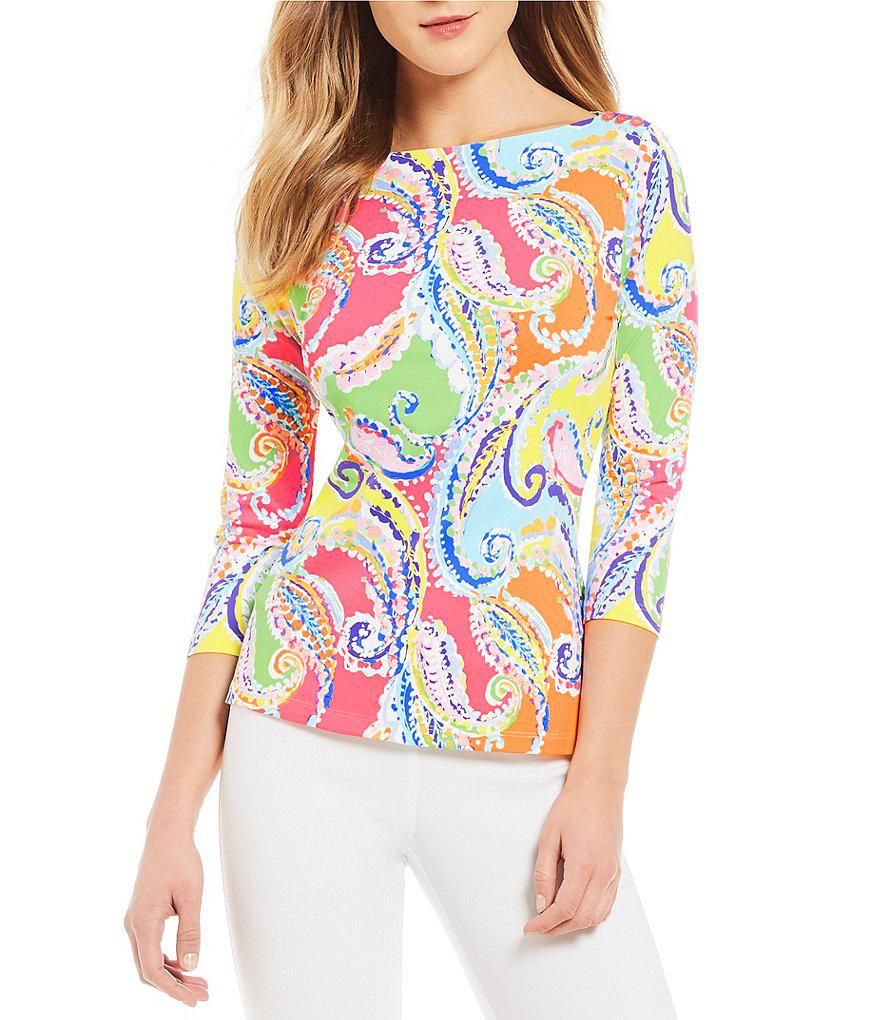 80e170fbf0a J.McLaughlin J. Mclaughlin Printed Wavesong Tee in Pink - Lyst