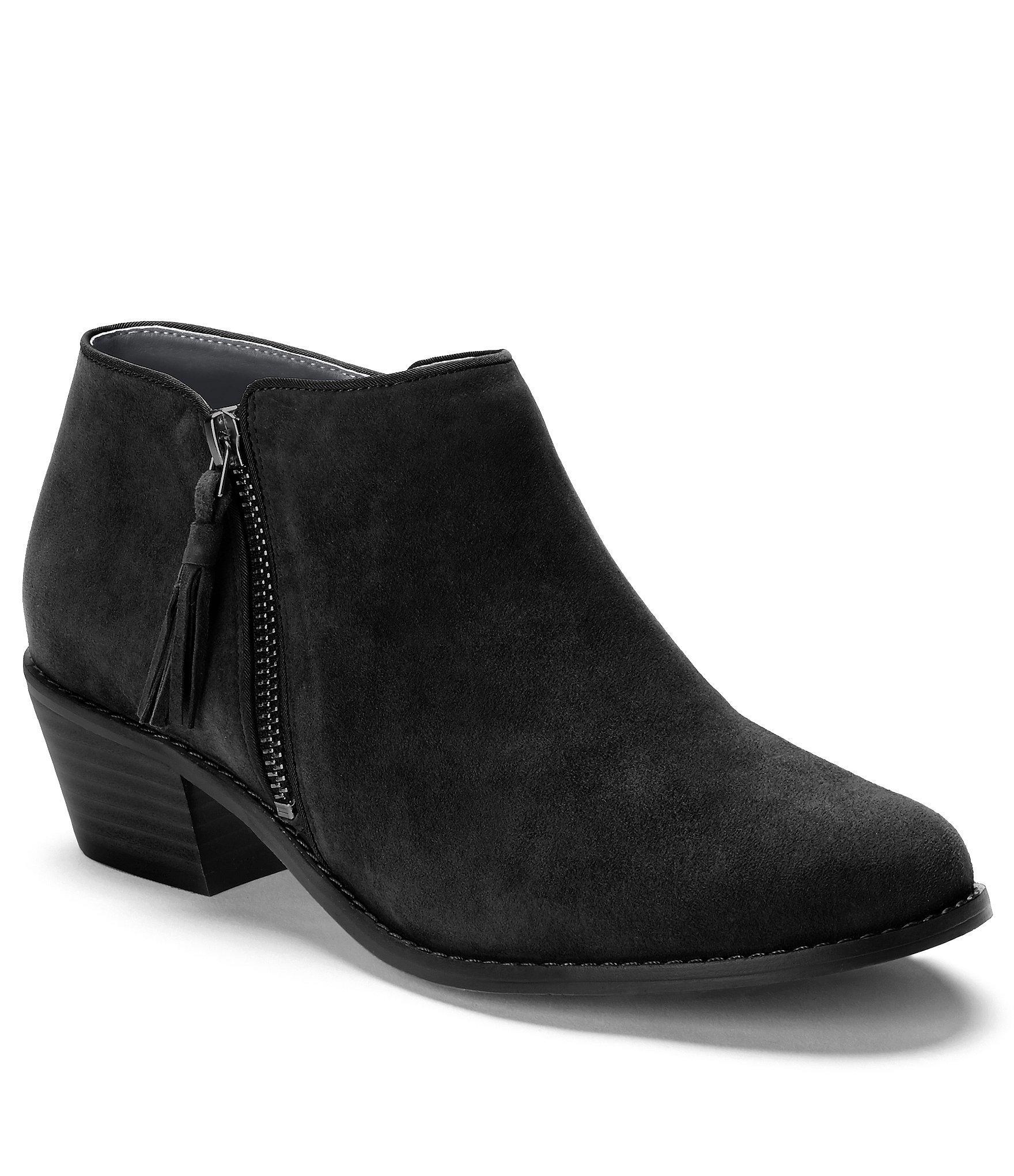 1e17749aa4b31 Vionic. Women's Black Serena Water Resistant Suede Zipper With Tassel Pull  Block Heel Ankle Boots