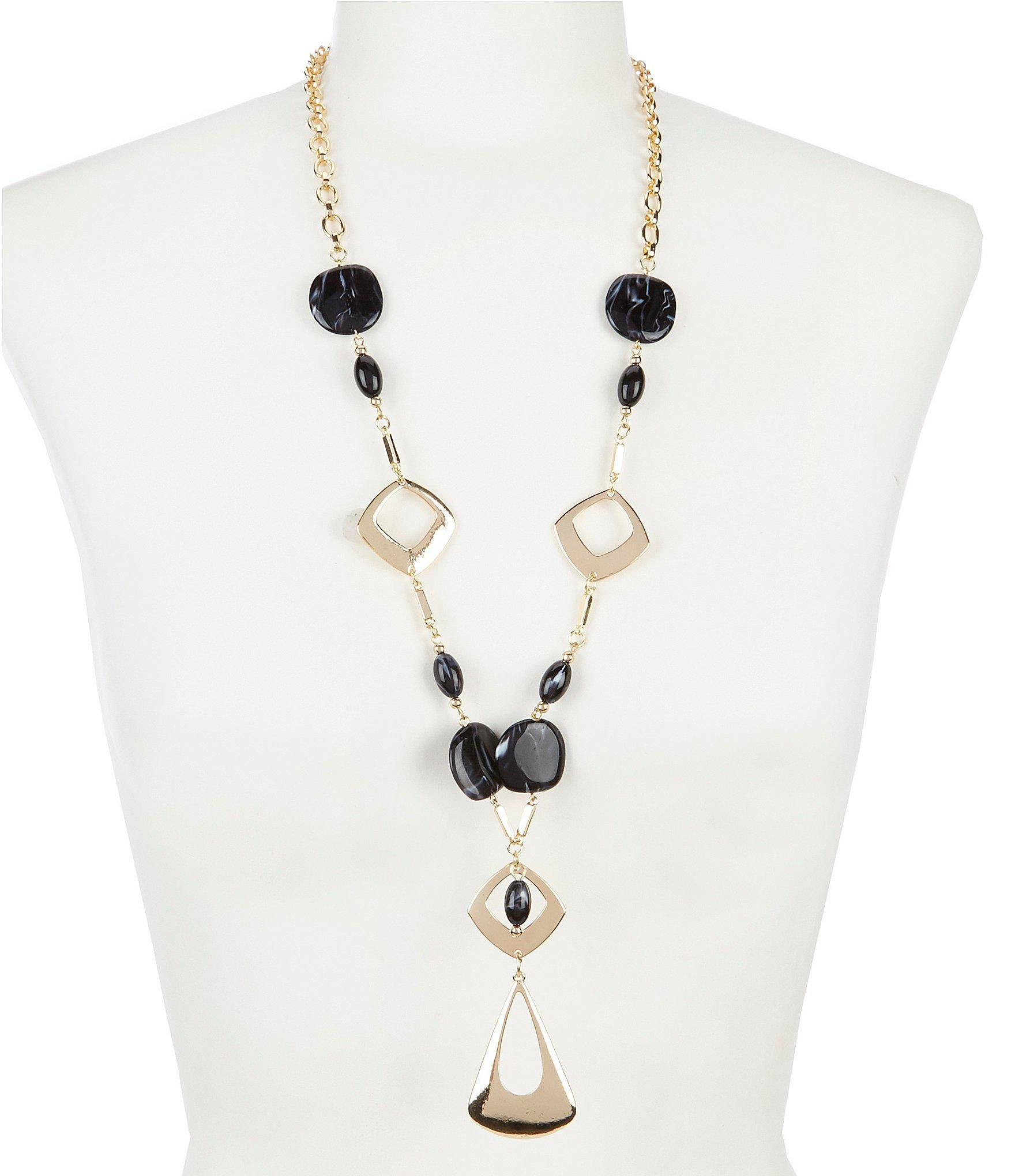 cceb8567d9366 Lyst - Dillard's Geometric Acrylic Y Necklace in White