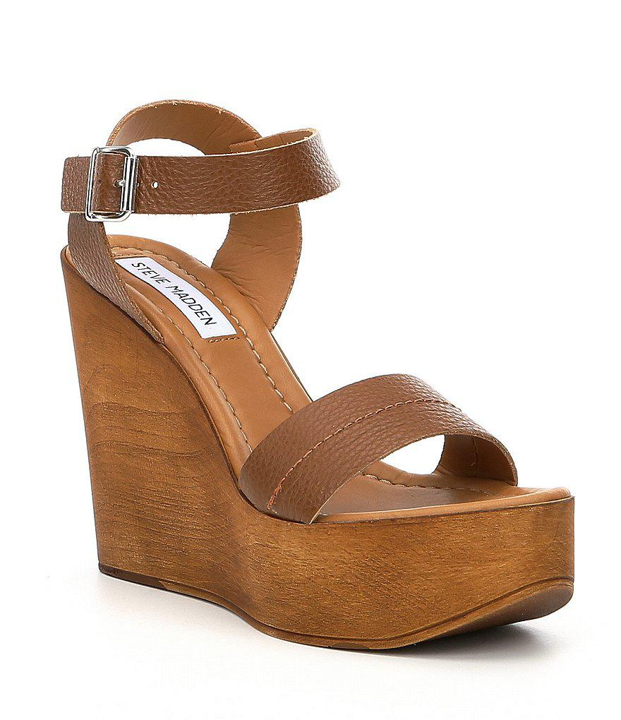 f23b95818ca Lyst - Steve Madden Belma Leather Wedge Sandals in Brown