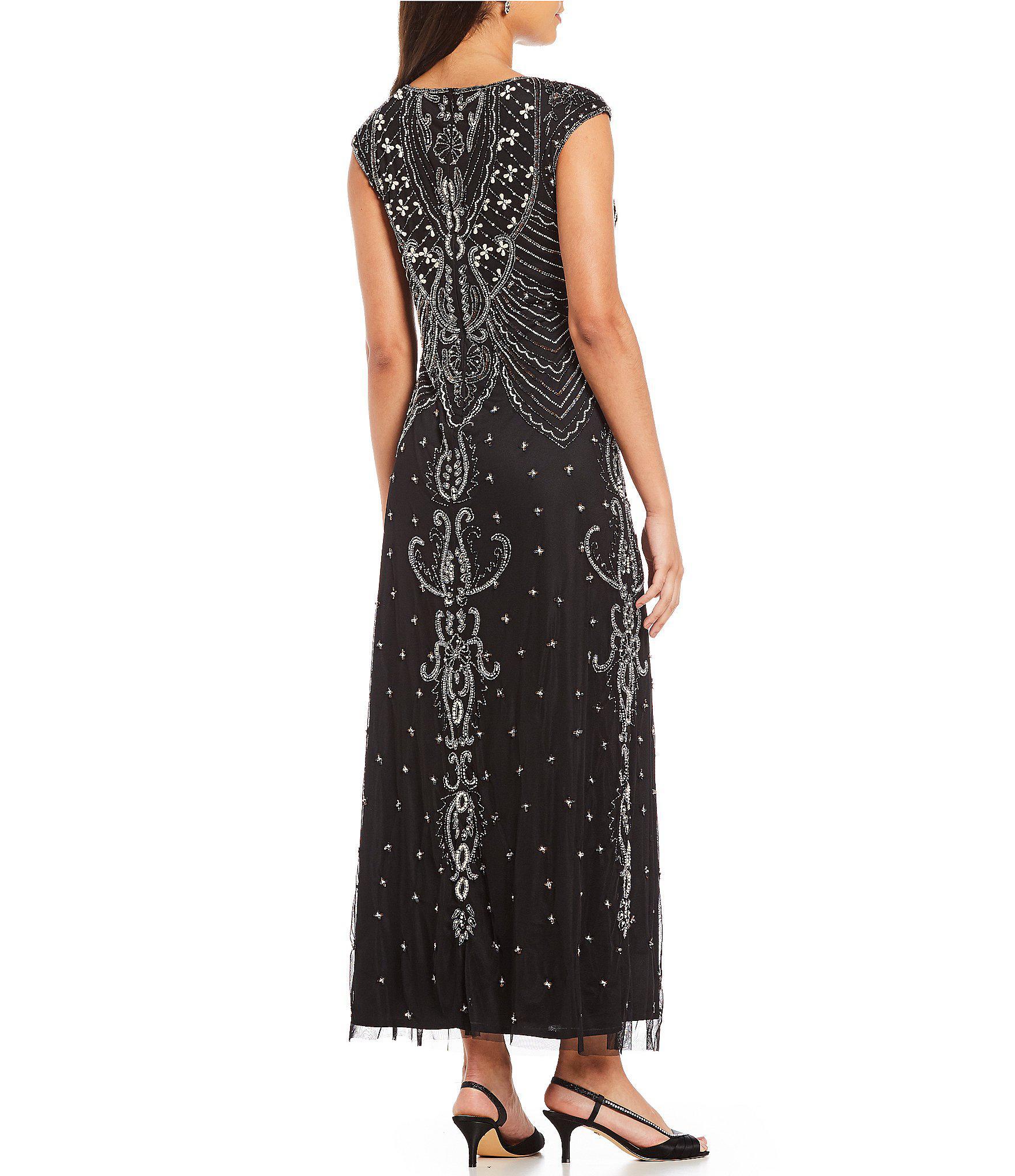 01852f81700 Pisarro Nights - Black Pearls And Beads Cap Sleeve Gown - Lyst. View  fullscreen