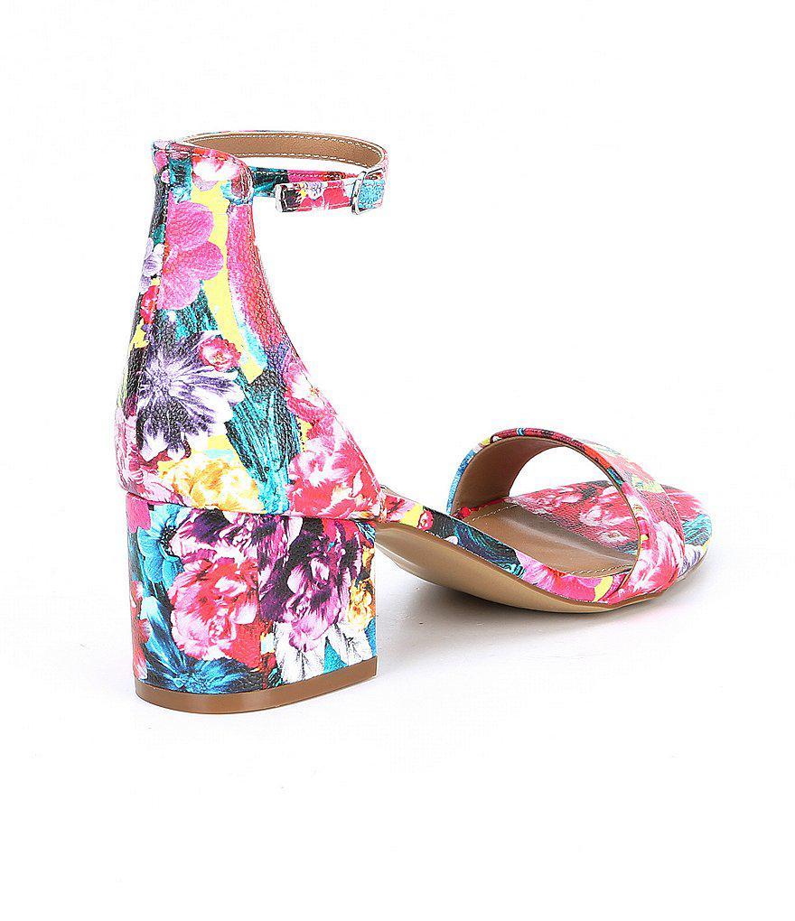 1043f2c0ab6 Lyst - Steve Madden Irenee Floral Print Multi Block Heel Dress Sandals