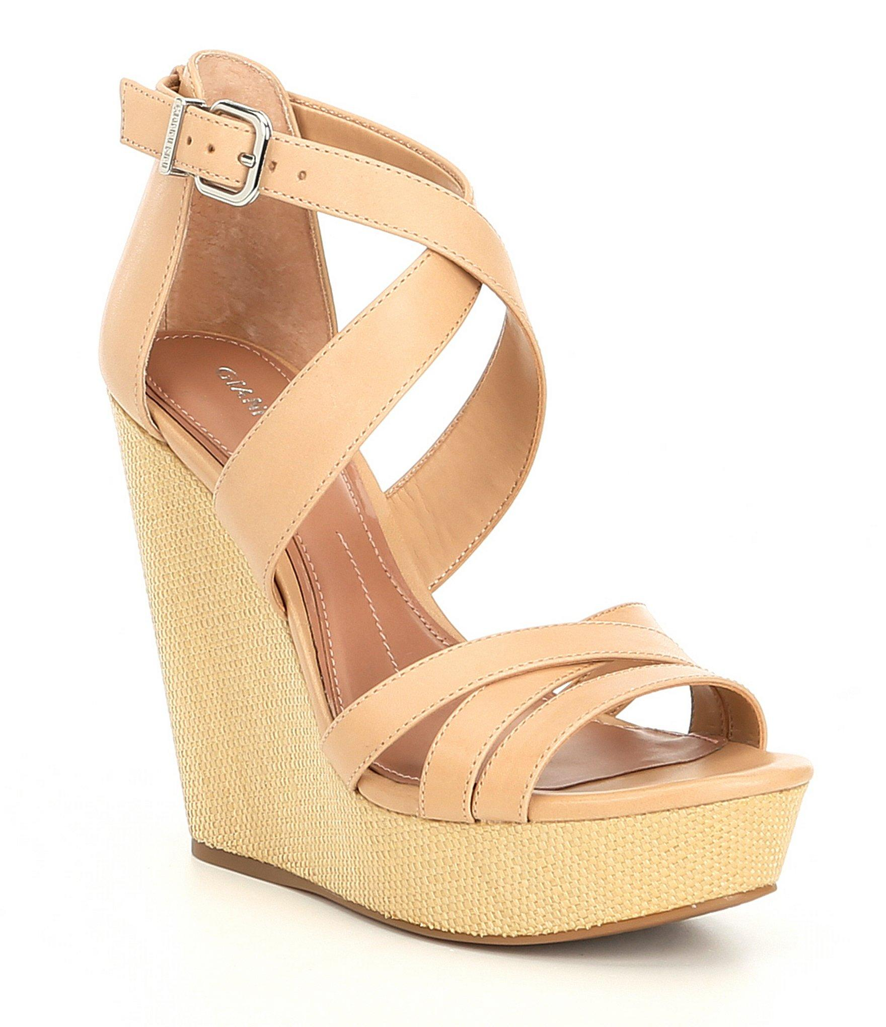 99c4441941c9 Lyst - Gianni Bini Jossilee Leather Banded Wedges in Natural
