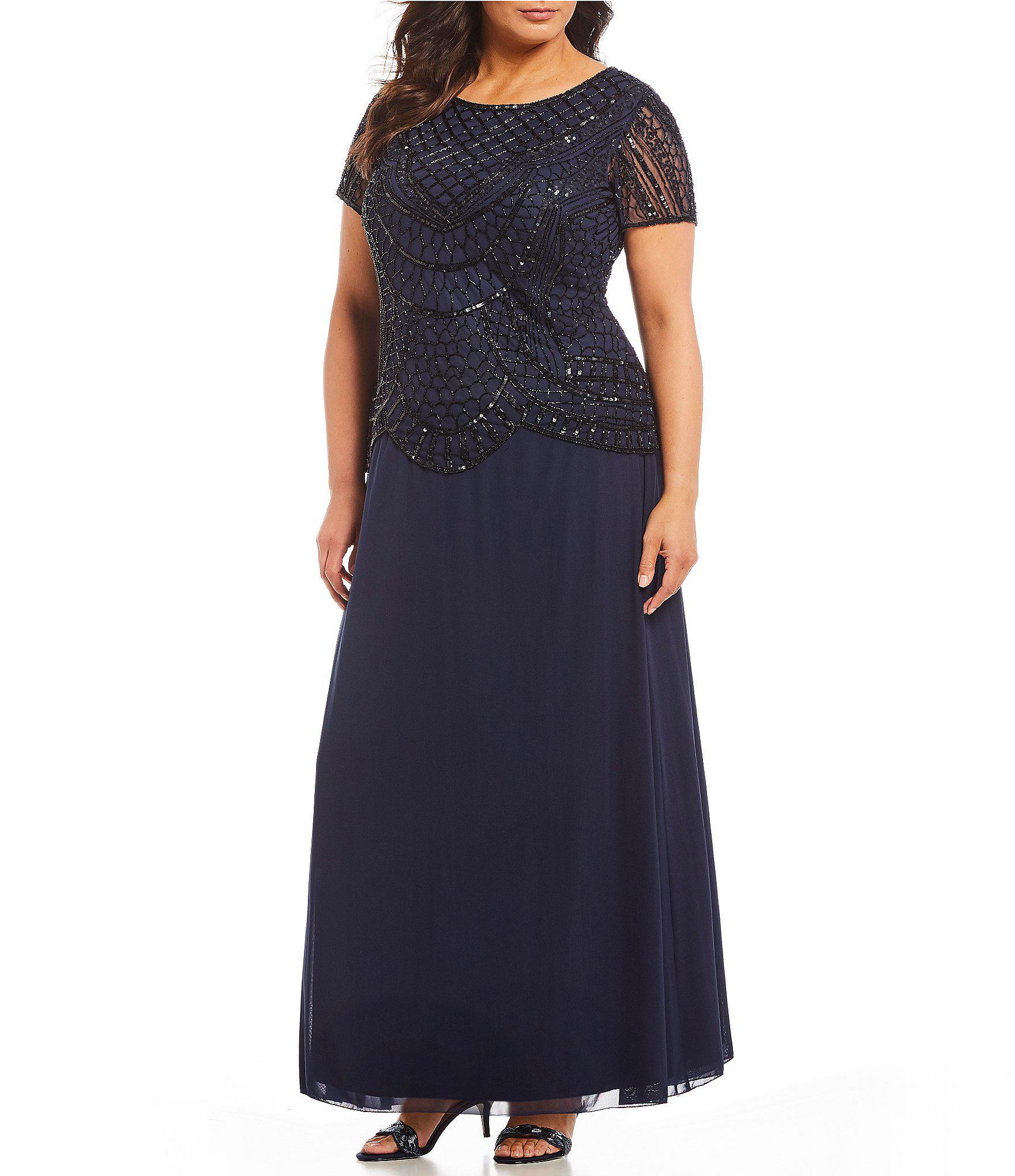 42ec461371c Pisarro Nights. Women s Blue Plus Size Beaded Bodice Mock Two Piece Dress