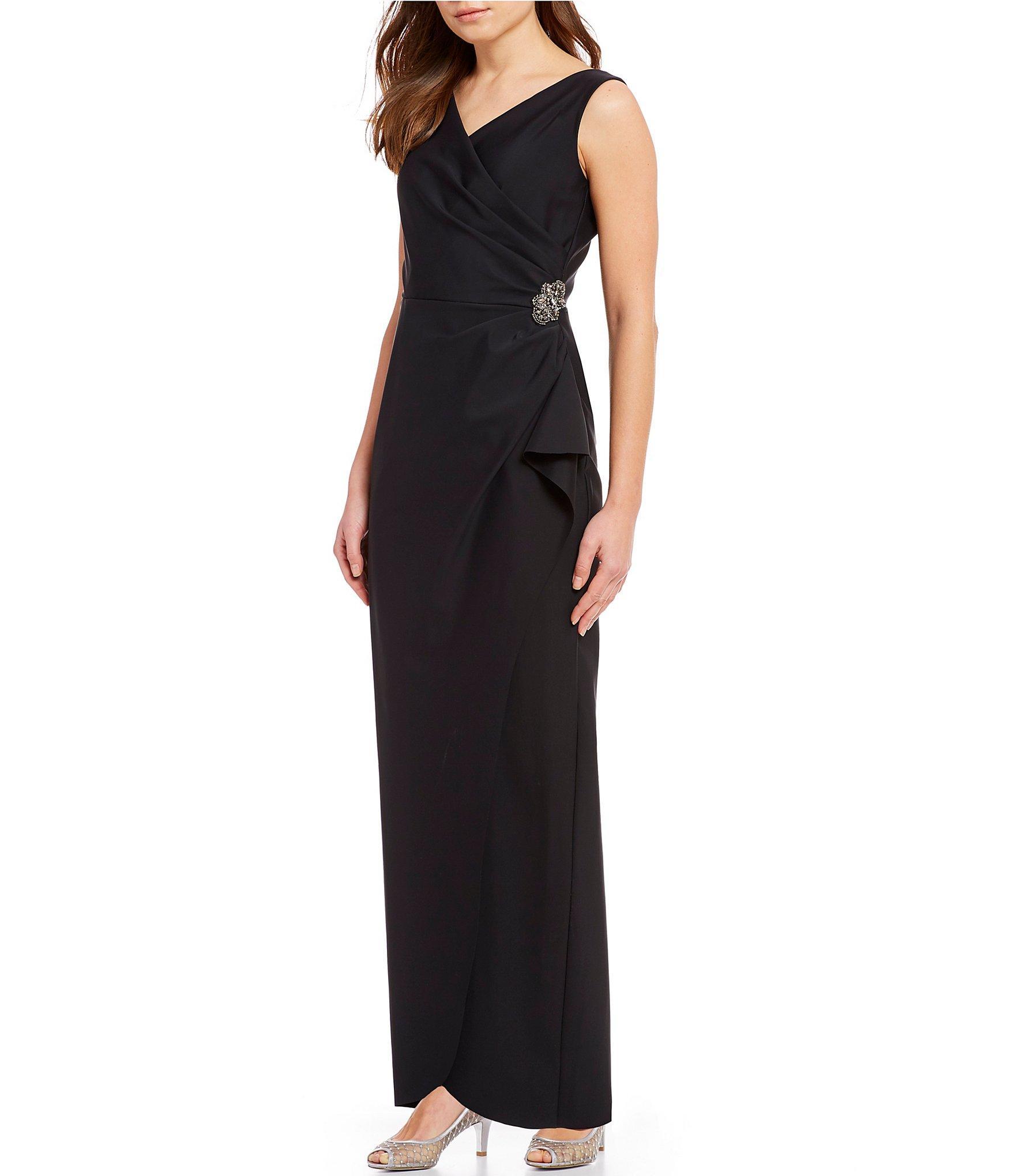 c8f8f7807f099 Alex Evenings. Women's Black Sleeveless Surplice Neckline Beaded Detail  Sheath Dress