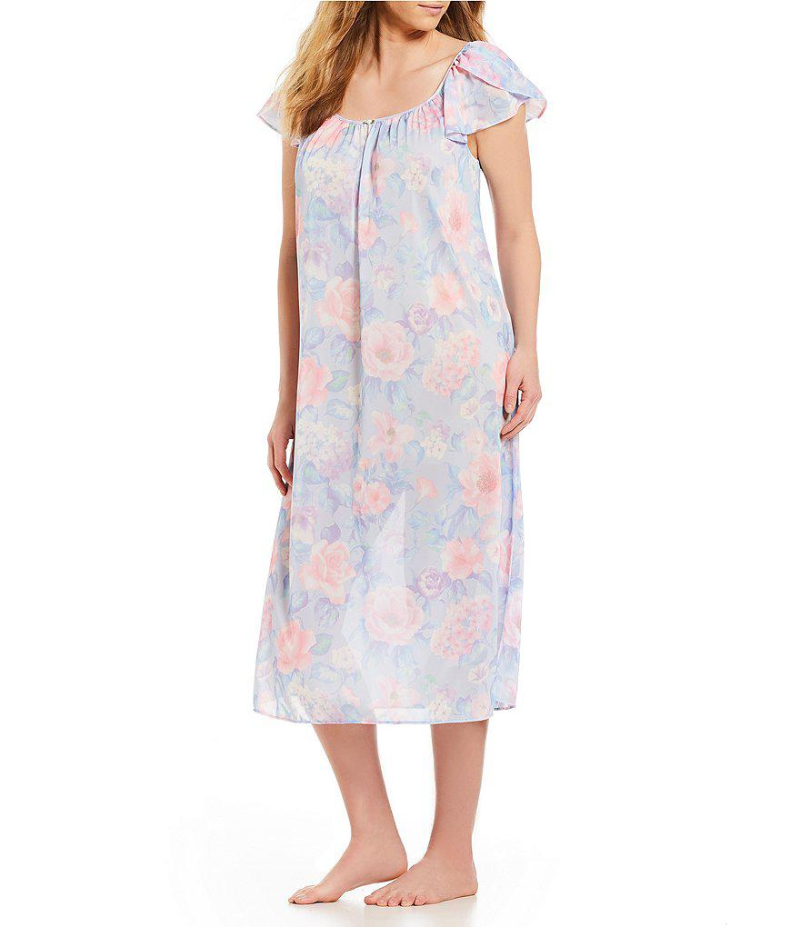 1a4c910bbd Lyst - Miss Elaine Plus Floral-print Tricot Long Nightgown in Blue
