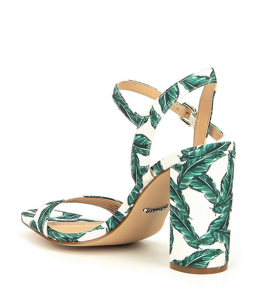 Gianni Bini McKaria Palm Leaf Print Block Heel Sandals IeP3b