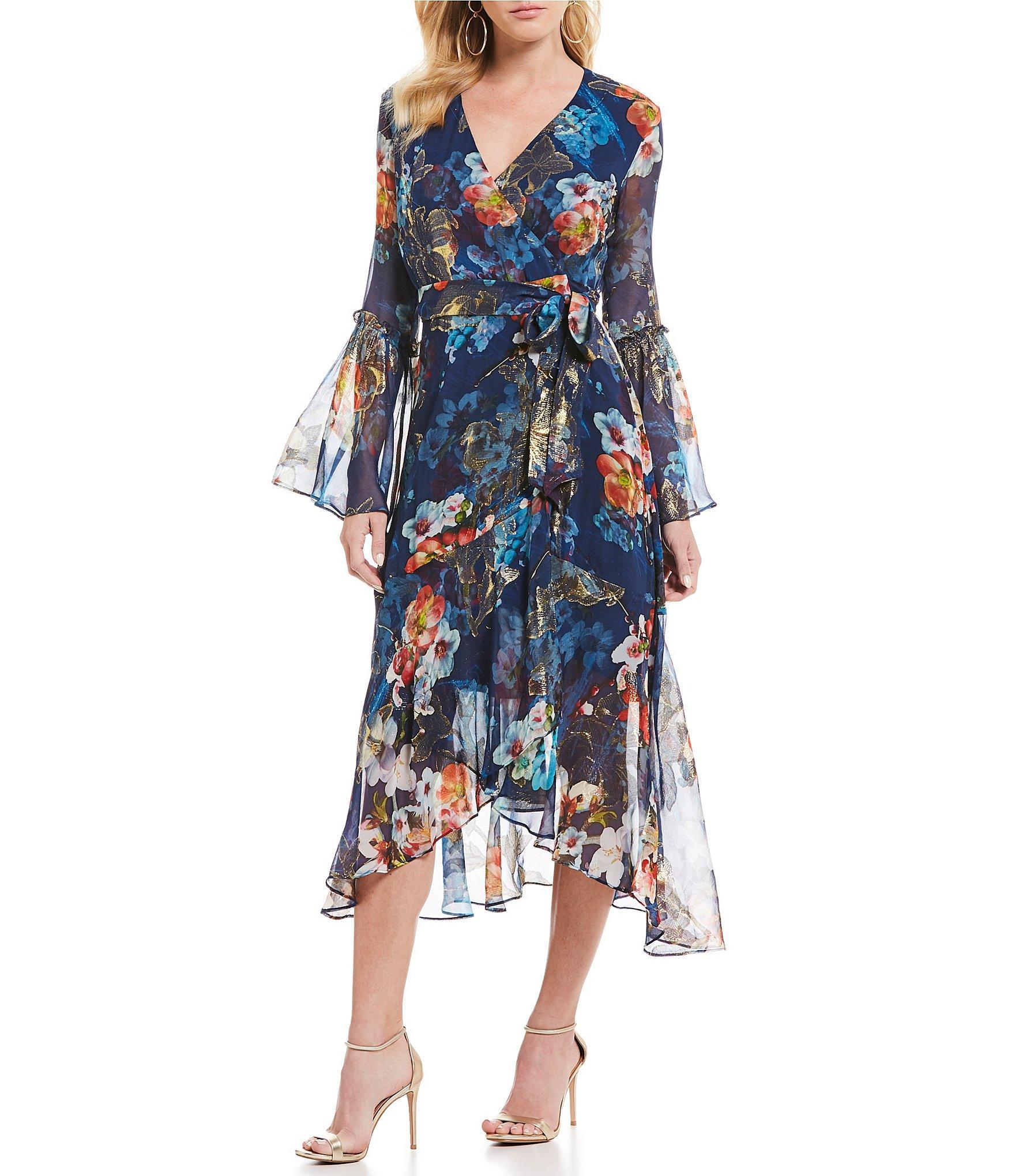 4f1a76f17ac Nicole Miller Floral Print Bell Sleeve Ruffle Hem Wrap Style Midi ...