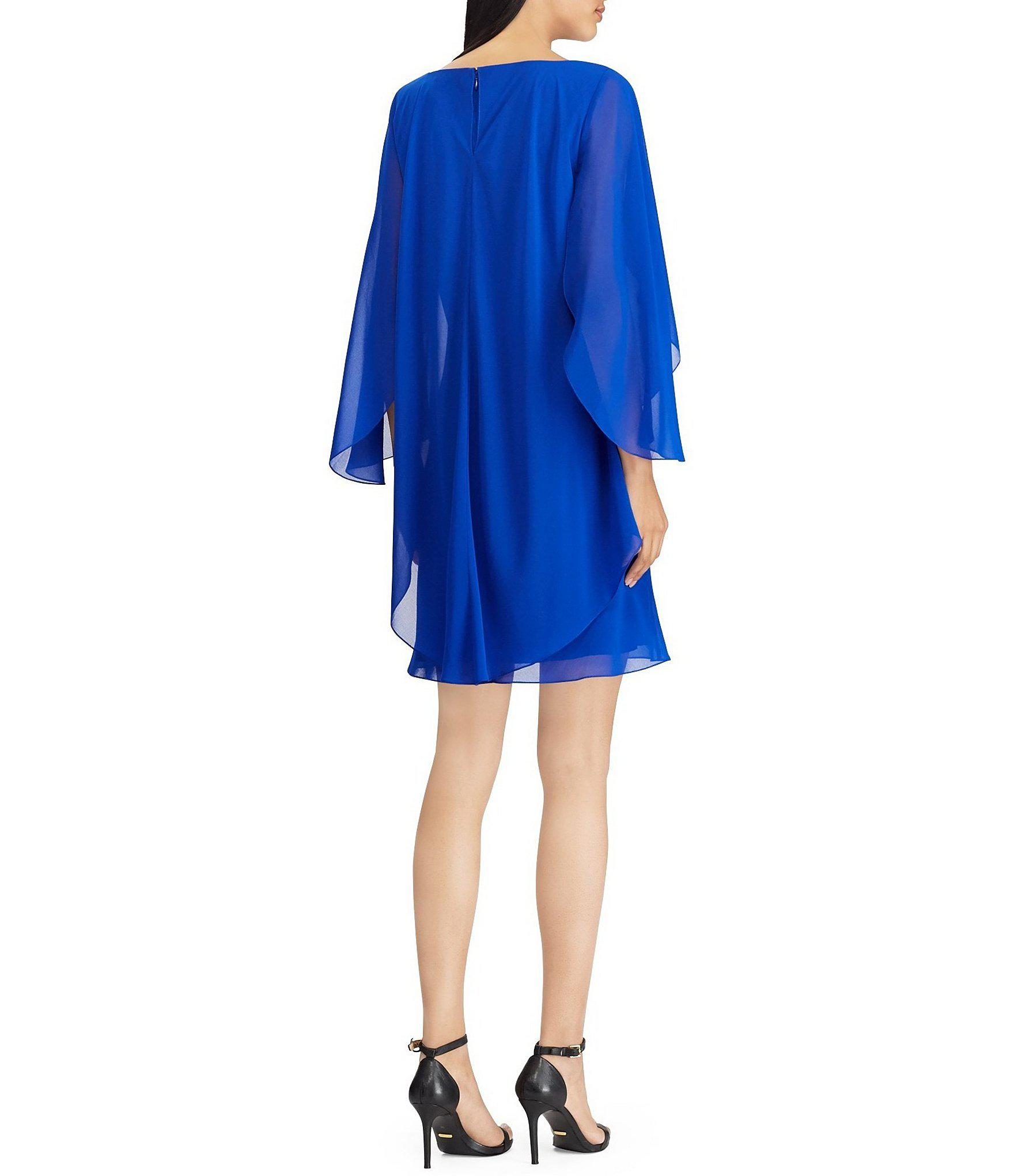 1e3e9ceb7759 Lauren by Ralph Lauren - Blue Cape Overlay Chiffon Popover Dress - Lyst.  View fullscreen
