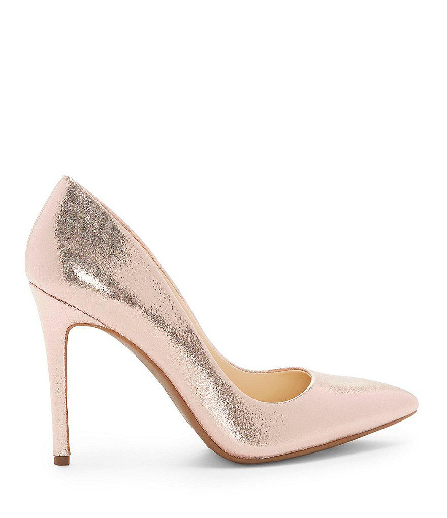Jessica Simpson Praylee Textile Shimmer Pointy Toe Pumps ZIMru