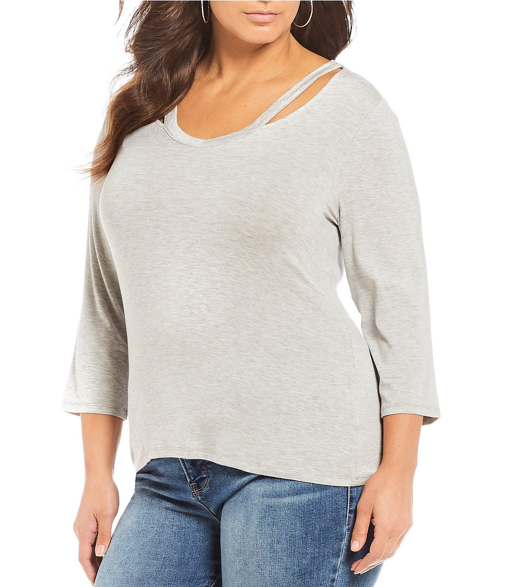ccfc8c986304cc Lyst - Rebel Wilson X Angels Plus Size Cut Out Detail Top in Gray