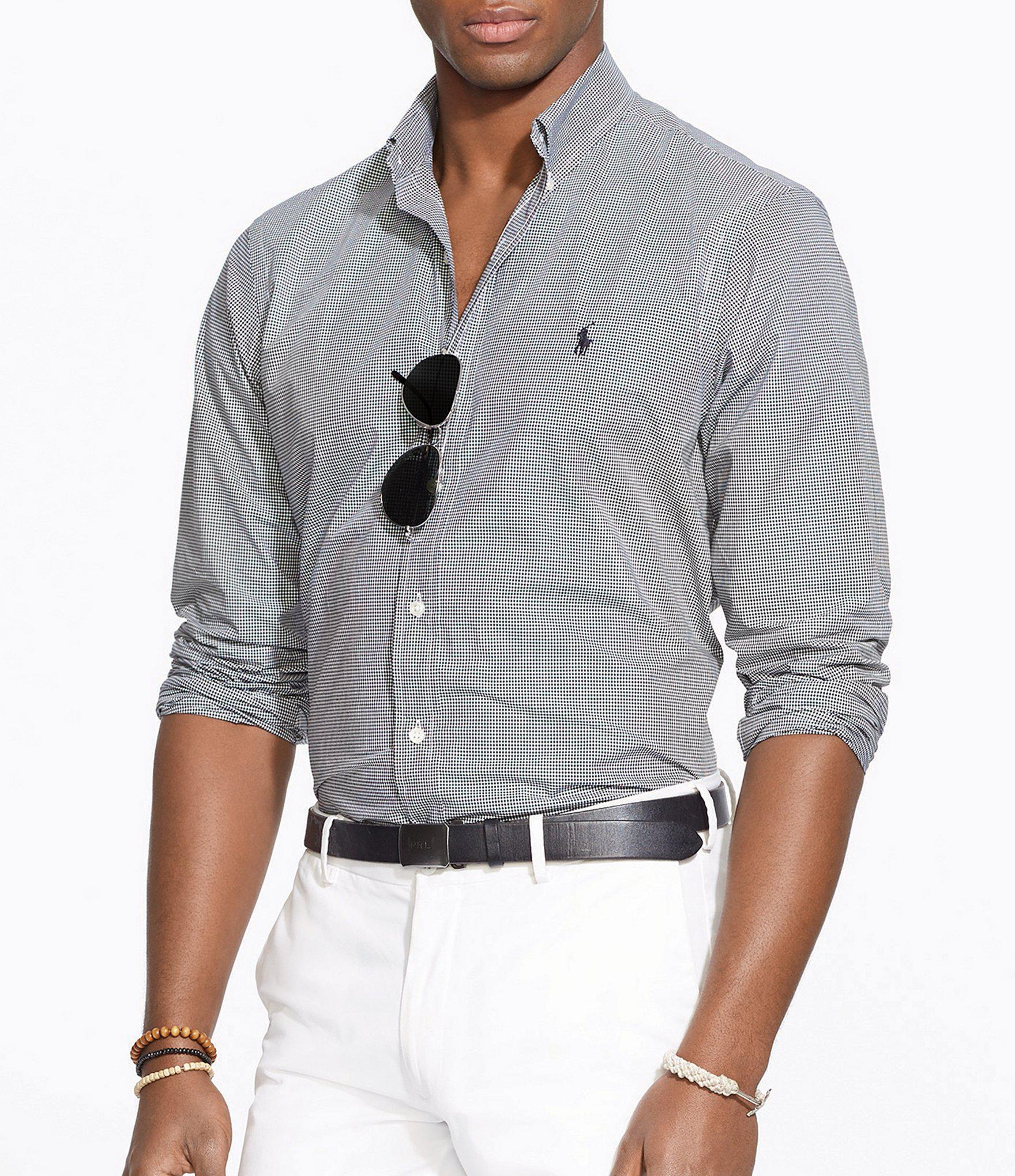64aa12f7c Lyst - Polo Ralph Lauren Checked Poplin Shirt in White for Men ...