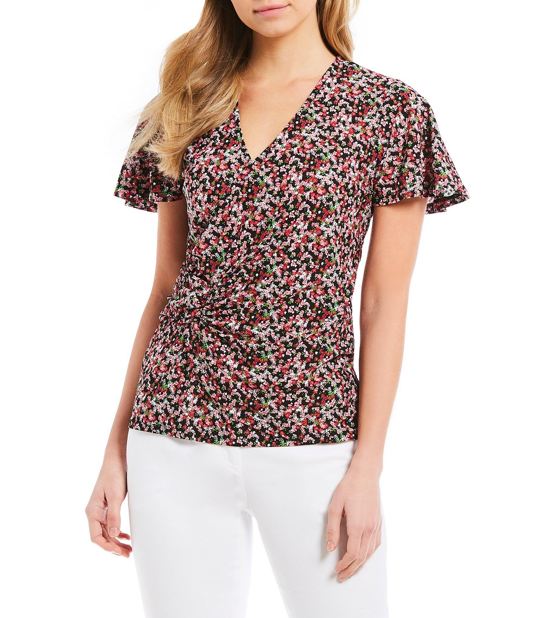 ae50be19fb0f1 MICHAEL Michael Kors. Women s Black Mini Mod Garden Ditsy Floral Print Side  Twist Flutter Sleeve Top