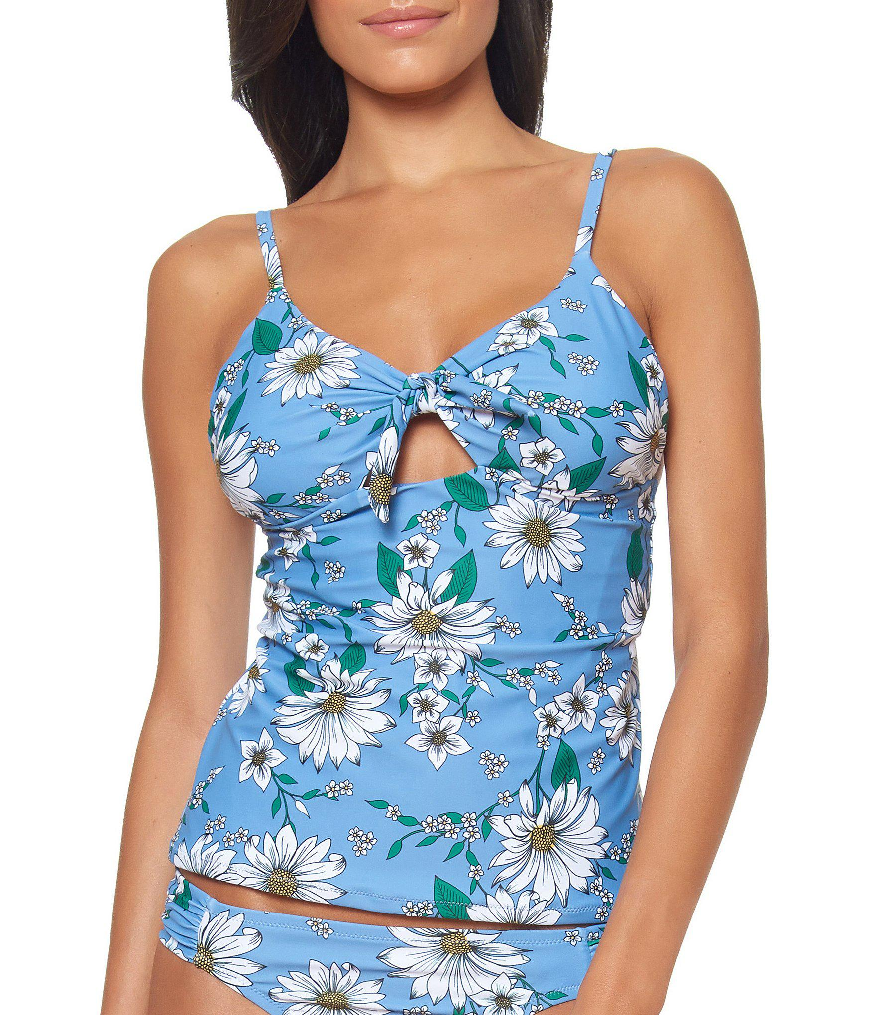 ac3cbc3aac Jessica Simpson. Women s Blue Oopsy Daisy Floral Print Tie Front Tankini Swimsuit  Top