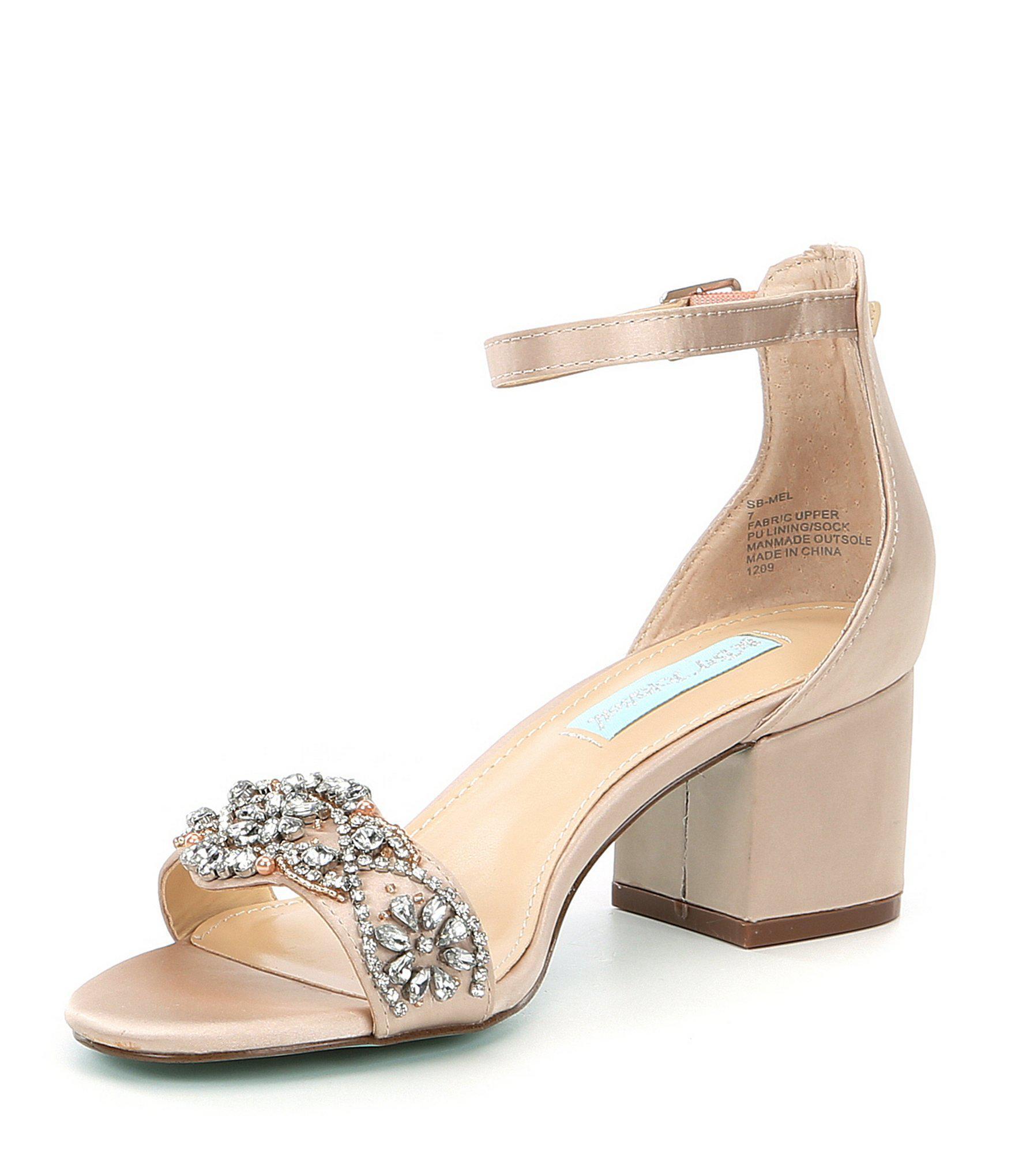 4bdd56b0ab Betsey Johnson Blue By Mel Bejeweled Satin Block Heel Dress Sandals ...