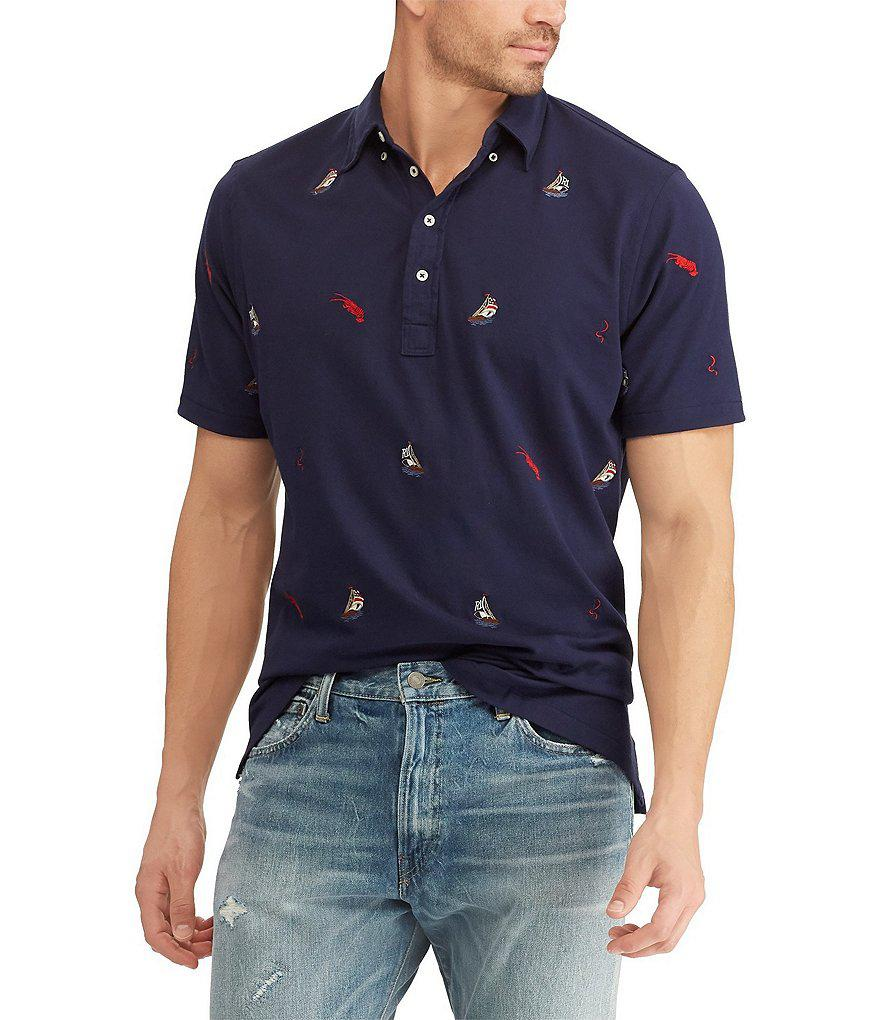 Polo Ralph Lauren. Men's Blue Big & Tall Hampton Sailing Inspired  Short-sleeve Polo Shirt