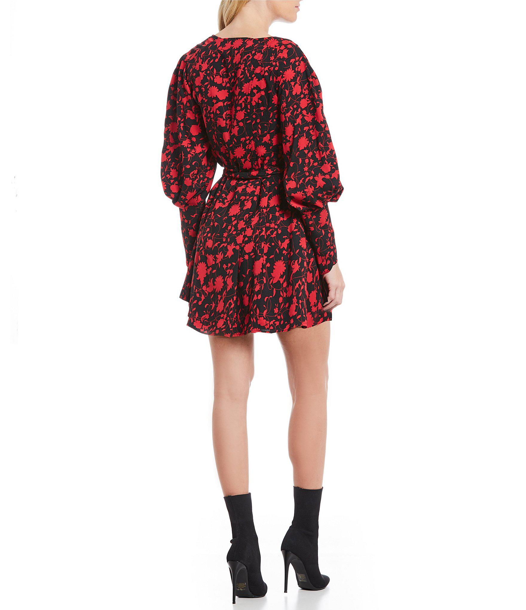 6b53ff8e5df78 Lyst - C meo Collective Opacity Floral Print Bishop Sleeve Belted V-neck  Mini Dress in Red