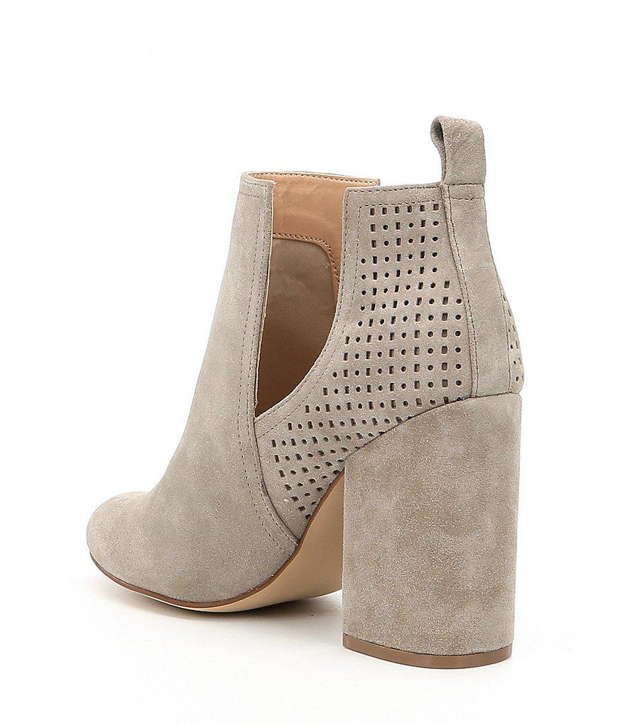 92b69d2aa4b Lyst - Steve Madden Nomad Perforated Suede Booties in Natural