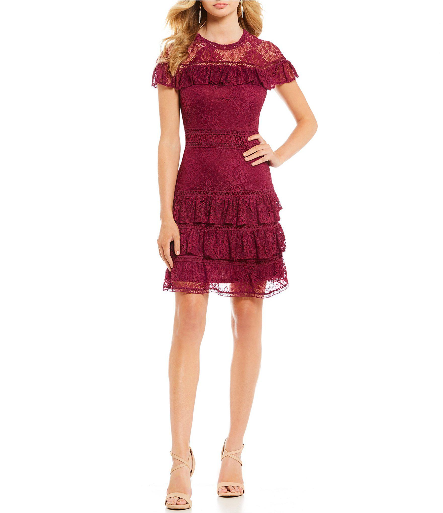 d81b5fdb079 Gianni Bini Sandra Ruffle Lace Dress in Red - Lyst