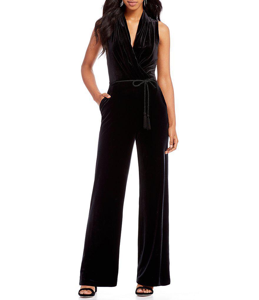 f5a66775182 Lyst - Vince Camuto Velvet Jumpsuit in Black