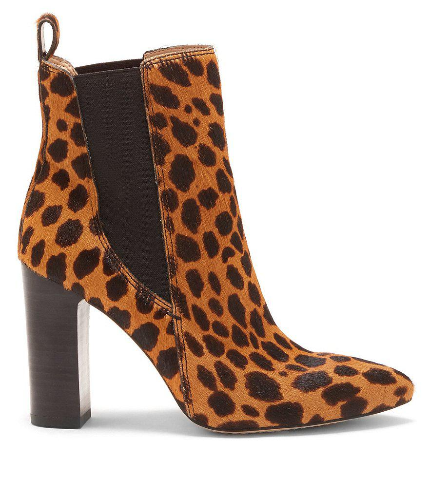 cbf66558801 Lyst - Vince Camuto Britsy 2 Leopard Print Calf Hair Booties in Natural