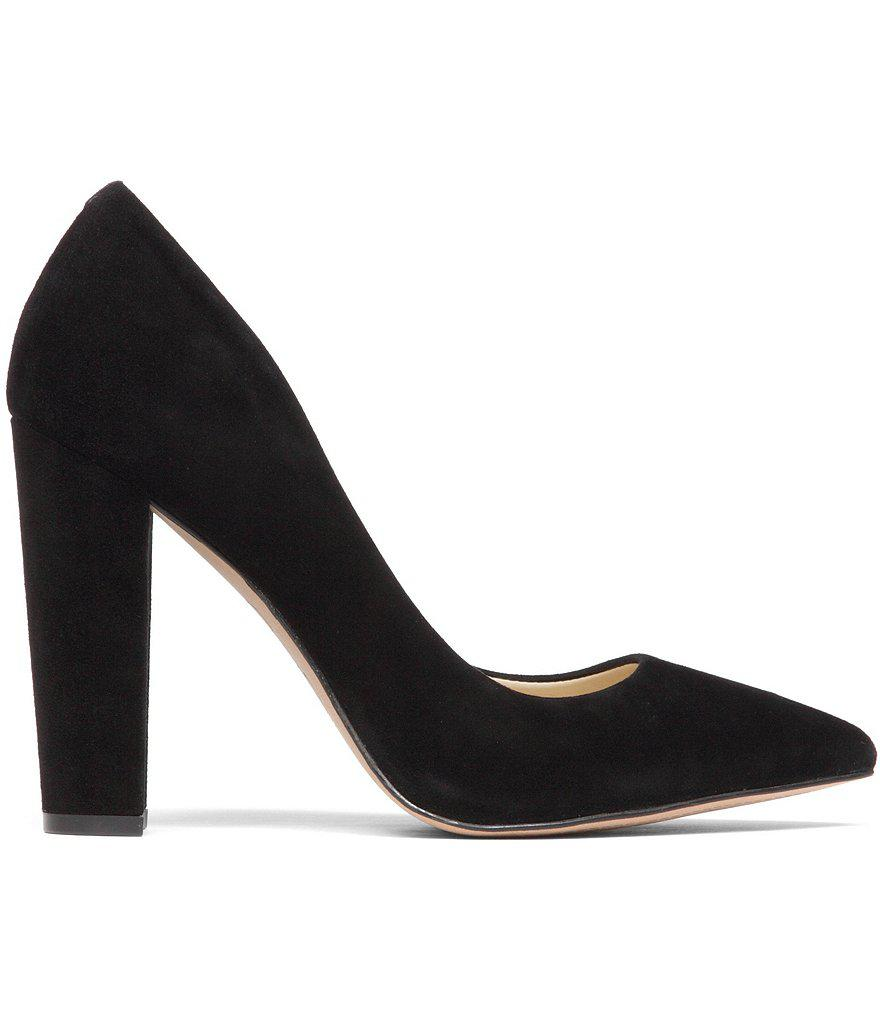 fa0a30a6b780 Lyst - Jessica Simpson Tanysha Suede Pointed-toe Block Heel Pumps in ...