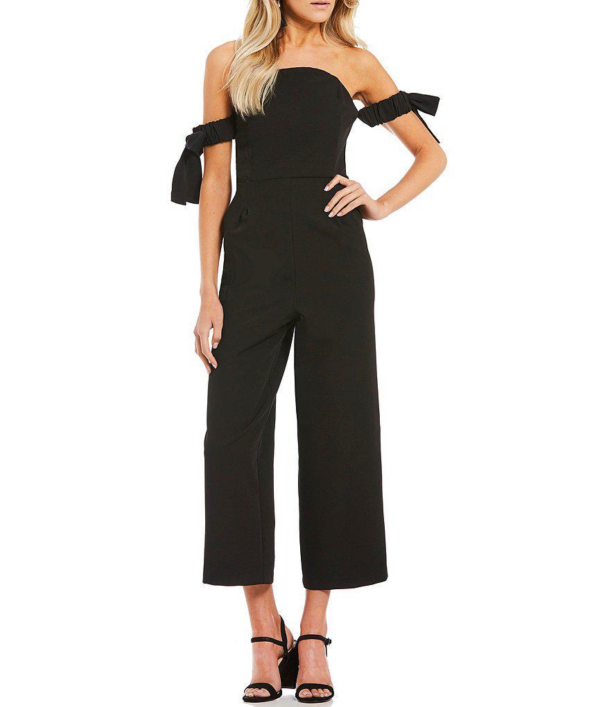 31846d0d6fa Lyst - Gianni Bini Rose Tie Sleeve Jumpsuit in Black