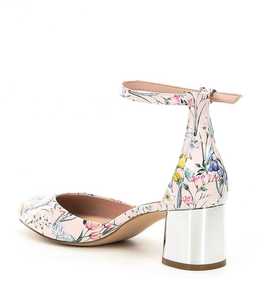 Legeallan Two-Piece Floral Print Ankle Strap Block Heel Pumps i6fga