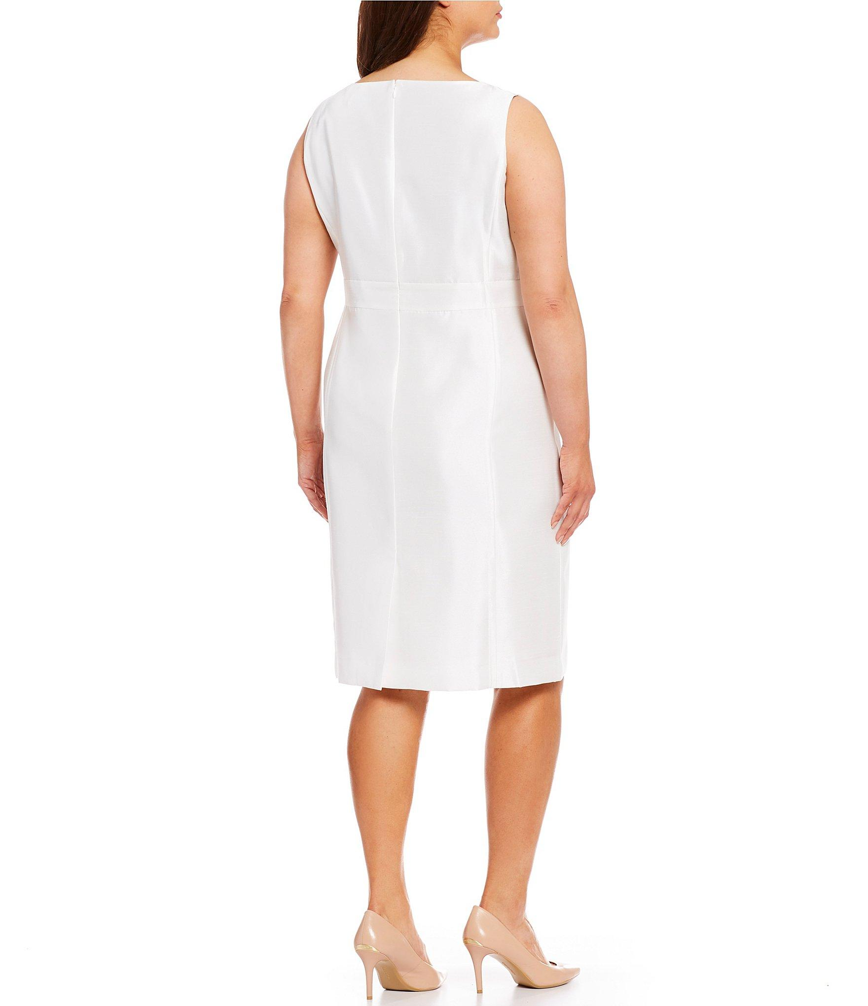 d2eafa1a Kasper - White Plus Size Shantung Embellished Waist Sheath Dress - Lyst.  View fullscreen