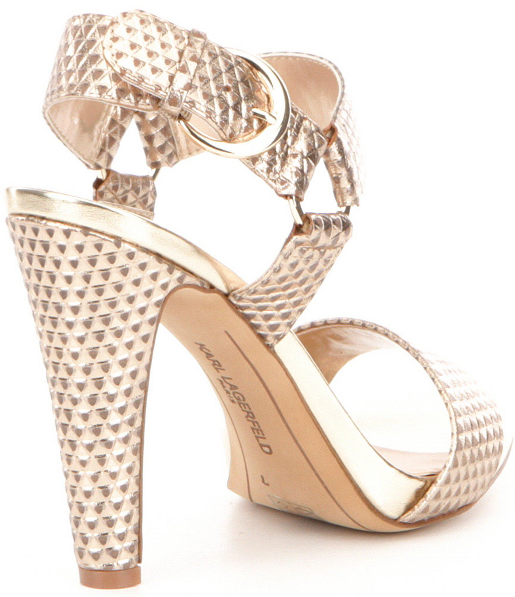 de1b4e17a7a Karl Lagerfeld - Cieone Metallic Leather Ankle Strap Dress Sandals - Lyst.  View fullscreen