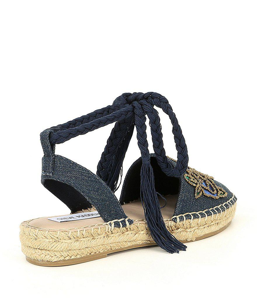 Mesa Beaded Rose Floral Embroidered Ankle Wrap Espadrilles FSZb1wC
