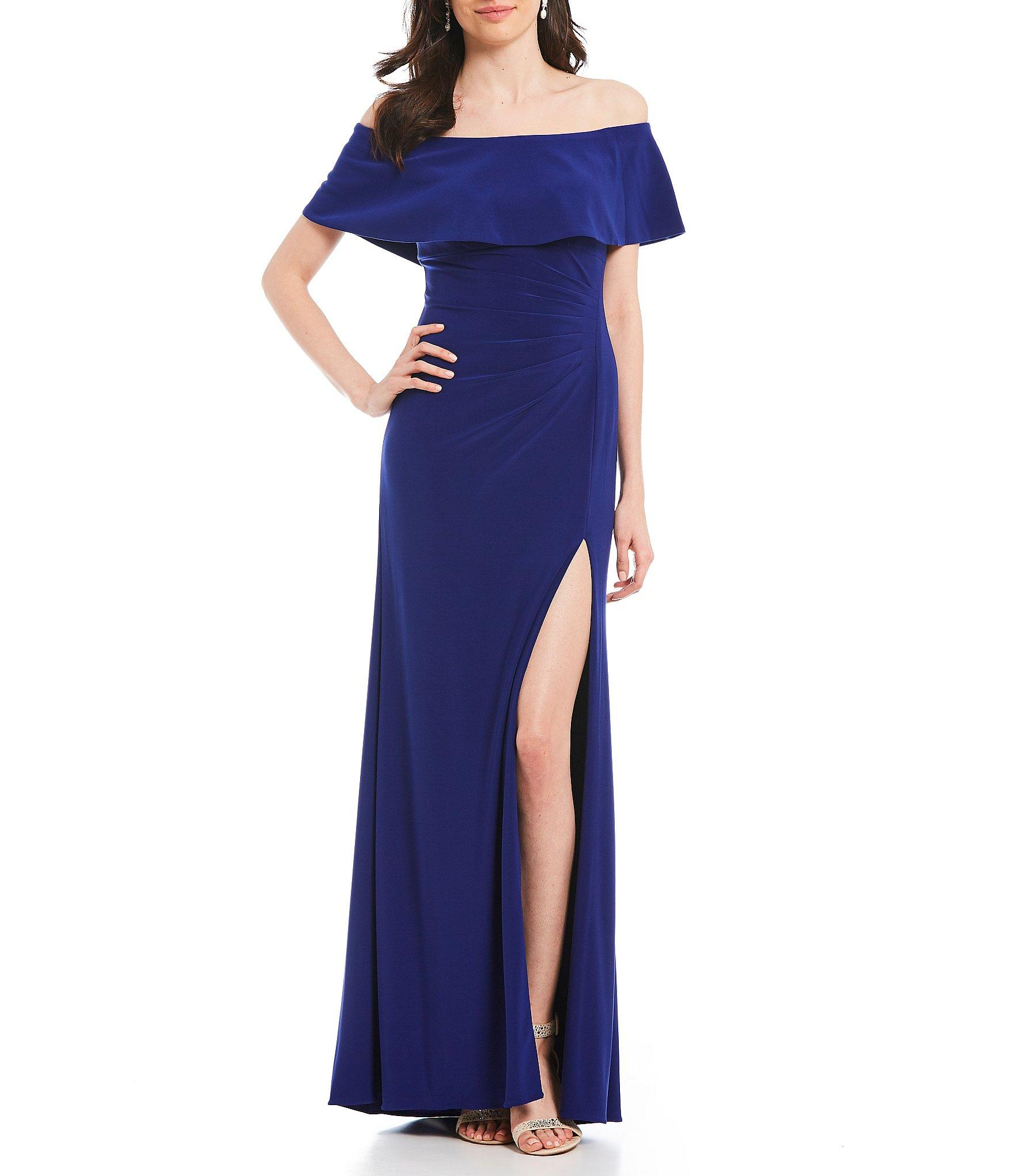 554f0433 Lyst - Xscape Off-the-shoulder Popover Front Slit Jersey Gown in Blue