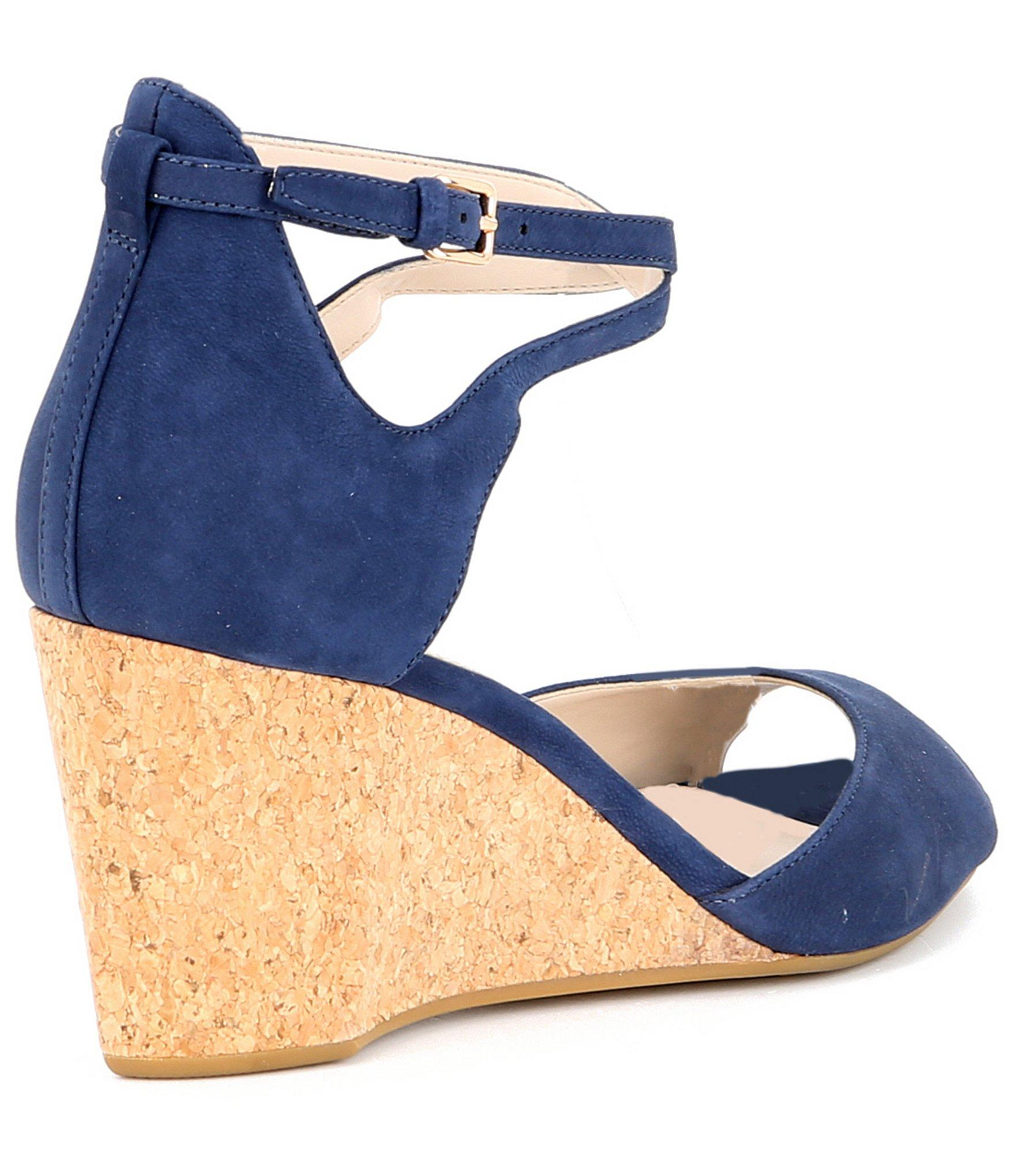 ce978f83ac Cole Haan - Blue Sadie Nubuck Leather Grand Cork Wedge Sandals - Lyst. View  fullscreen