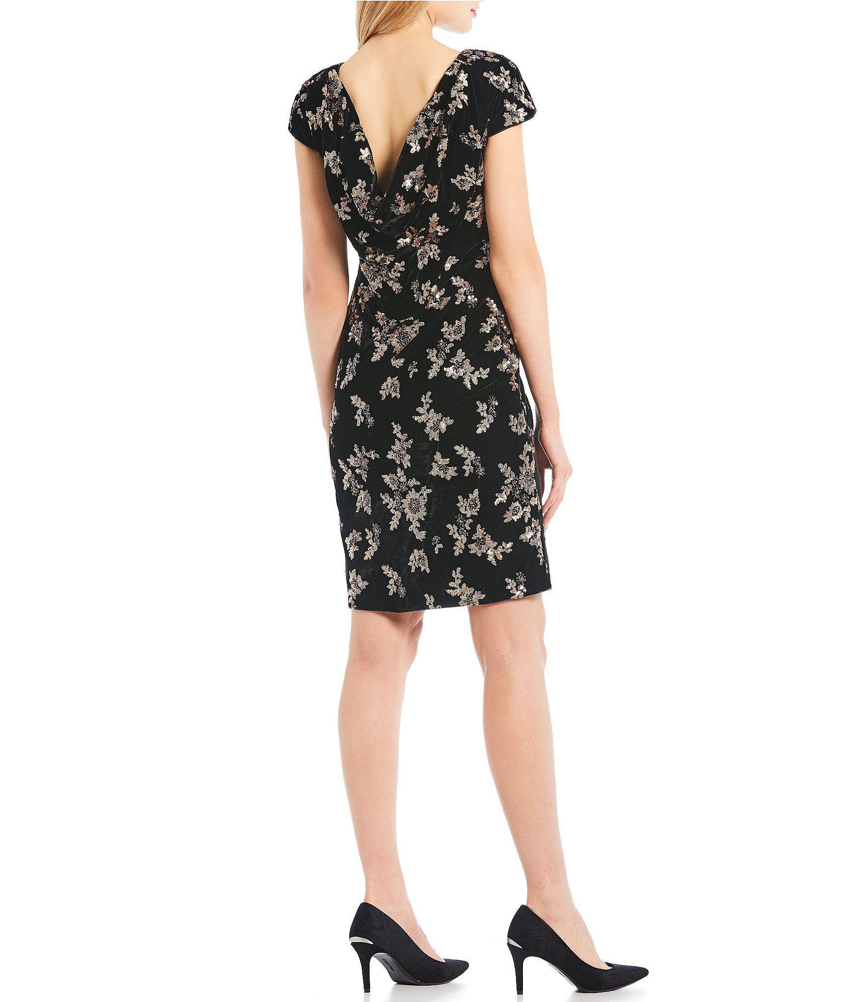 496731ccda2 Calvin Klein - Black Sequin Floral Embroidered Velvet Cowl Back Sheath Dress  - Lyst. View fullscreen