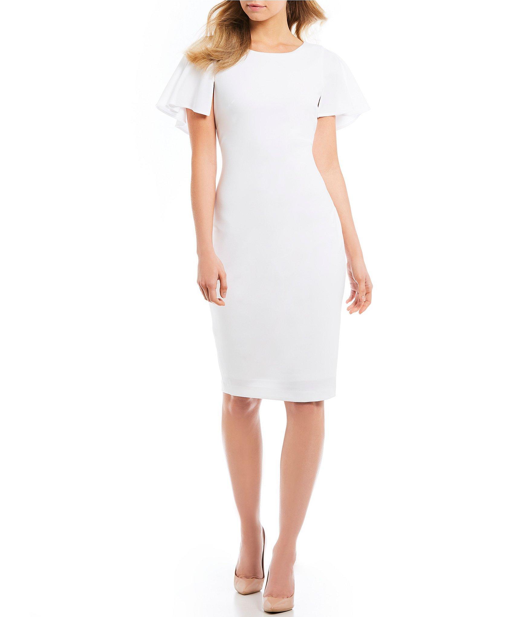 3473b3bc6f6 Lyst - Calvin Klein Flutter Cape Sleeve V Back Sheath Dress in White