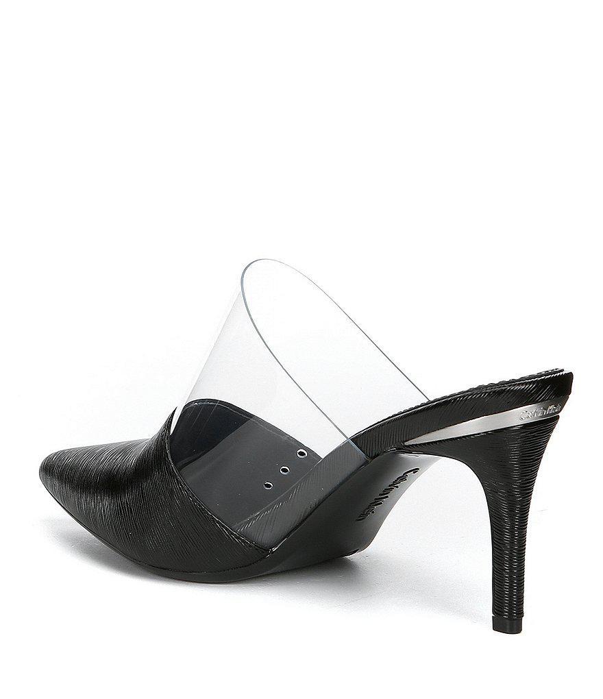 Calvin Klein Graycie 2 Saffiano Transparent Detail Leather Mules zC5Eh