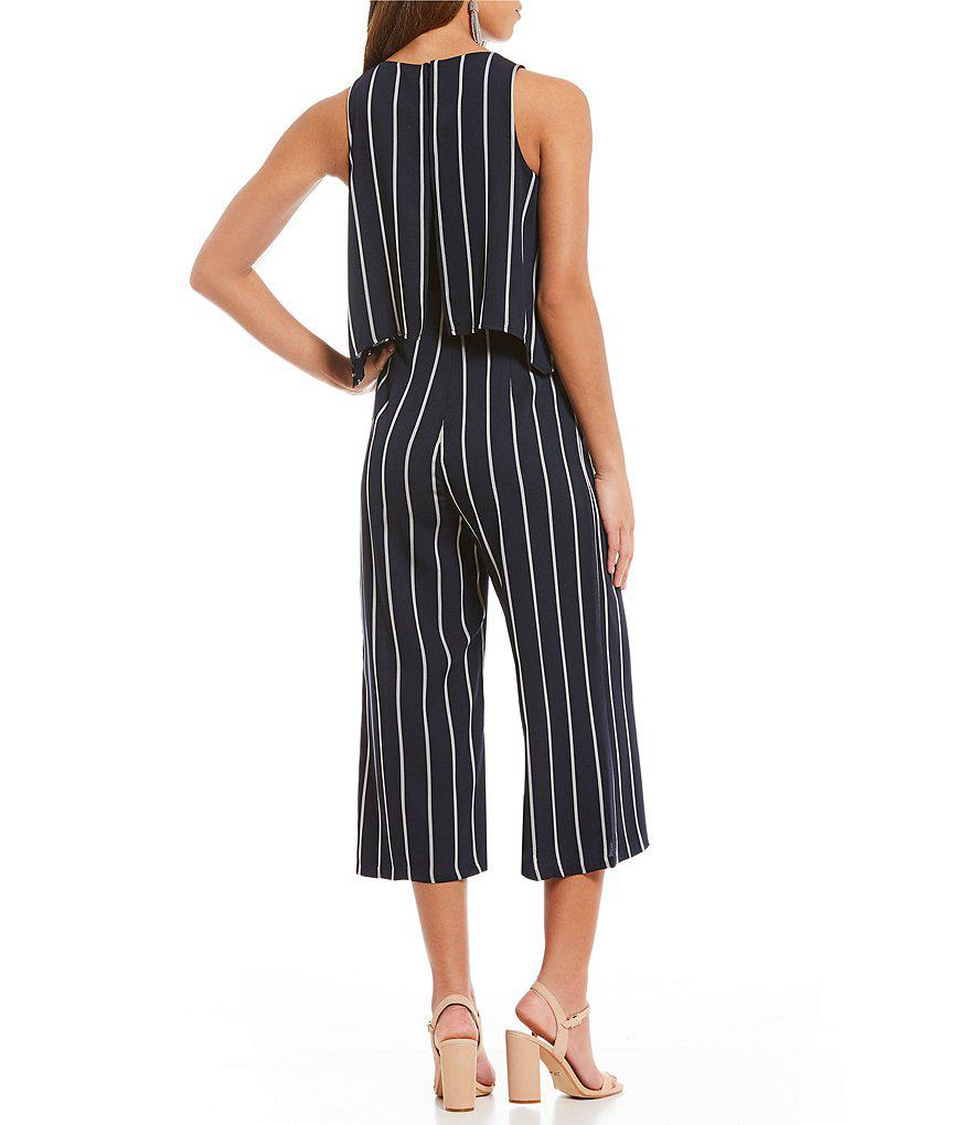 76ead6ec45cc Lyst - Gianni Bini Sandra Striped Popover Culotte Jumpsuit in Blue