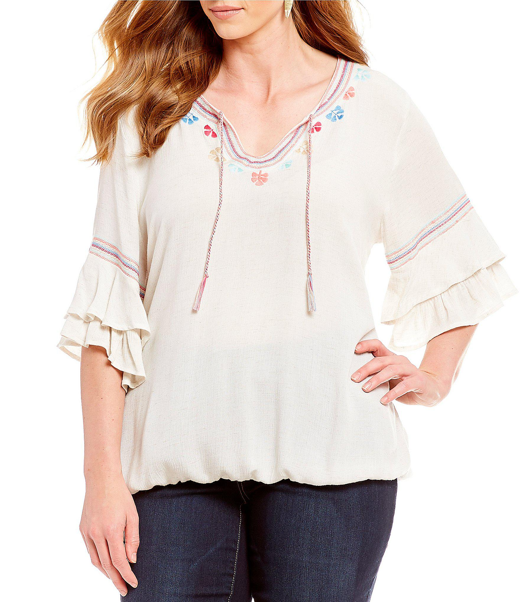 f6918920c23 Lyst - Democracy Plus Size Double Flounce Sleeve Embroidered Detail ...