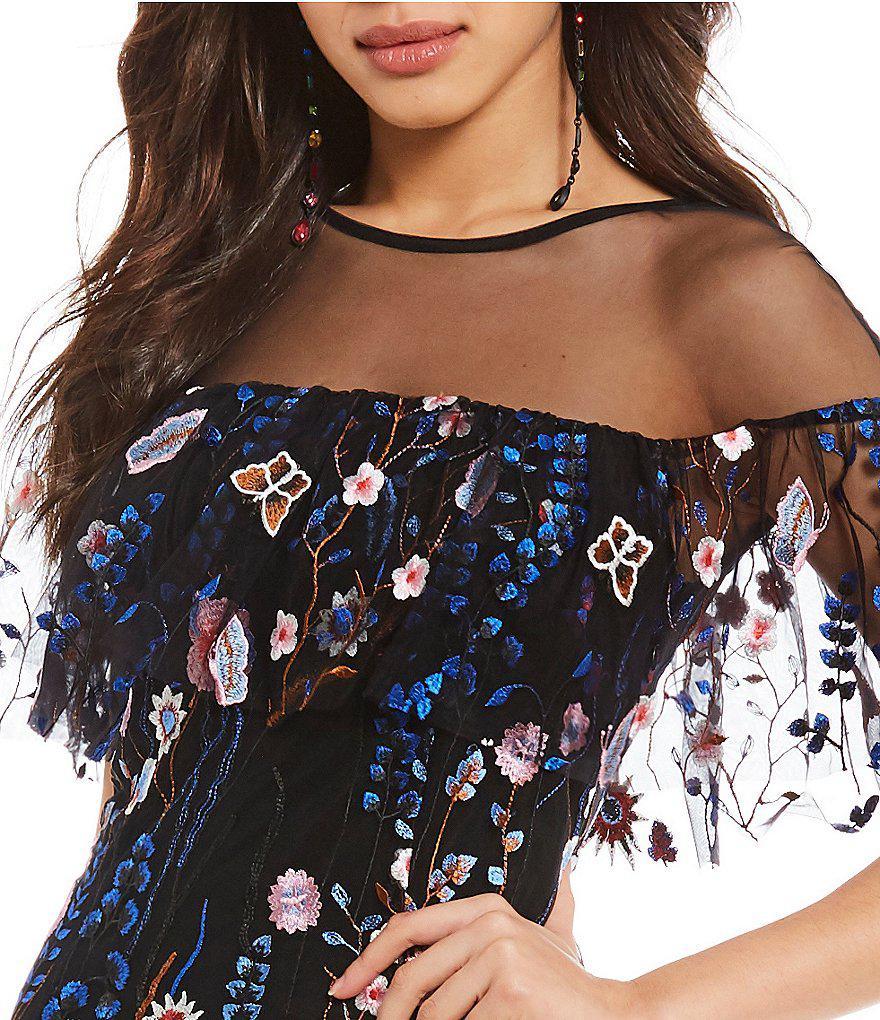9c1175f9d7c Gianni Bini Tonny Floral Embroidered Sheath Dress in Black - Lyst