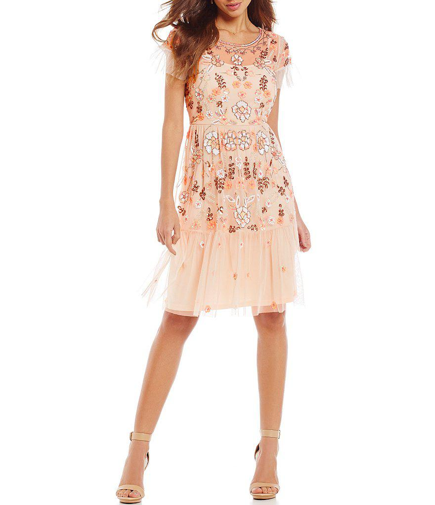 2addbb50d Gianni Bini Penny Round Neck Short Sleeve Floral Sequin Sheath Dress ...