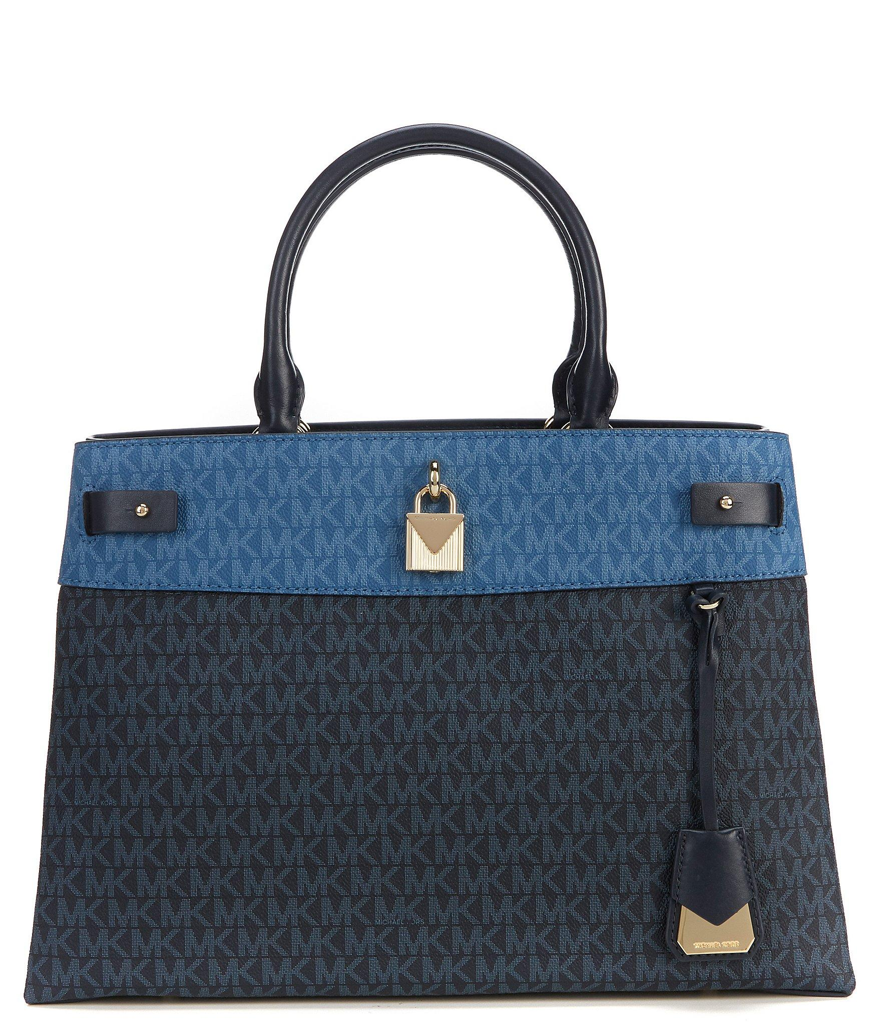 391a2917f8a6 Lyst - MICHAEL Michael Kors Gramercy Colorblock Large Satchel in Blue