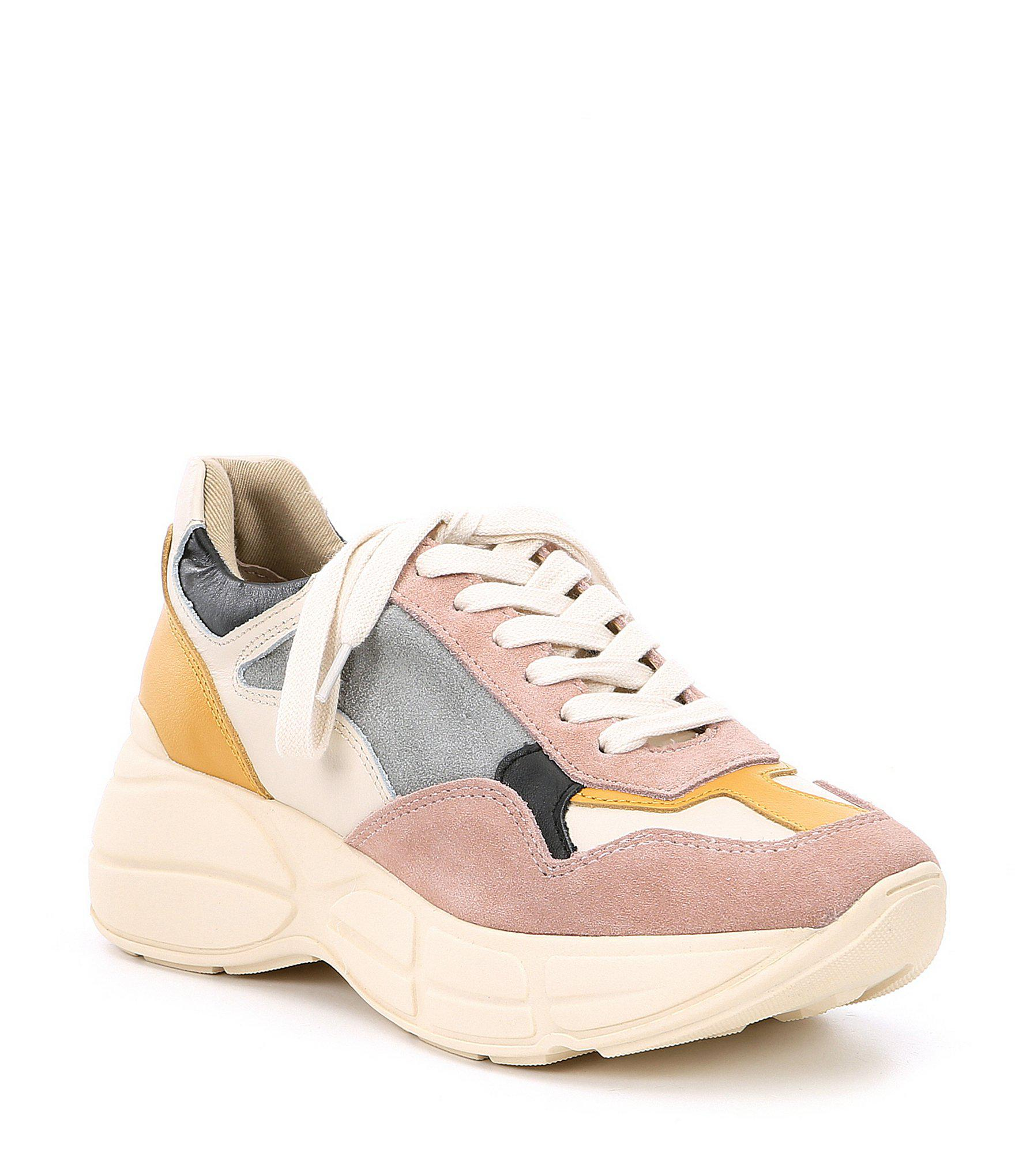 9bbc93c0c29 Lyst - Steve Madden Memory Leather Color Block Sneakers in Pink ...