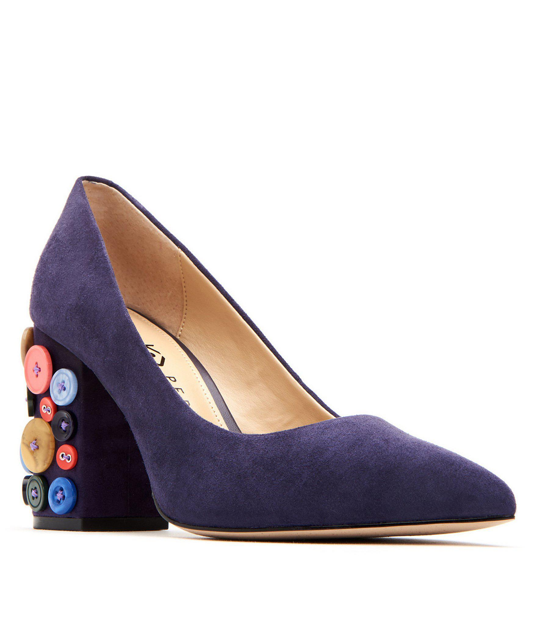 c4fc220ed657 Lyst - Katy Perry The Anjelica Suede Button Detail Block Heel Pumps ...
