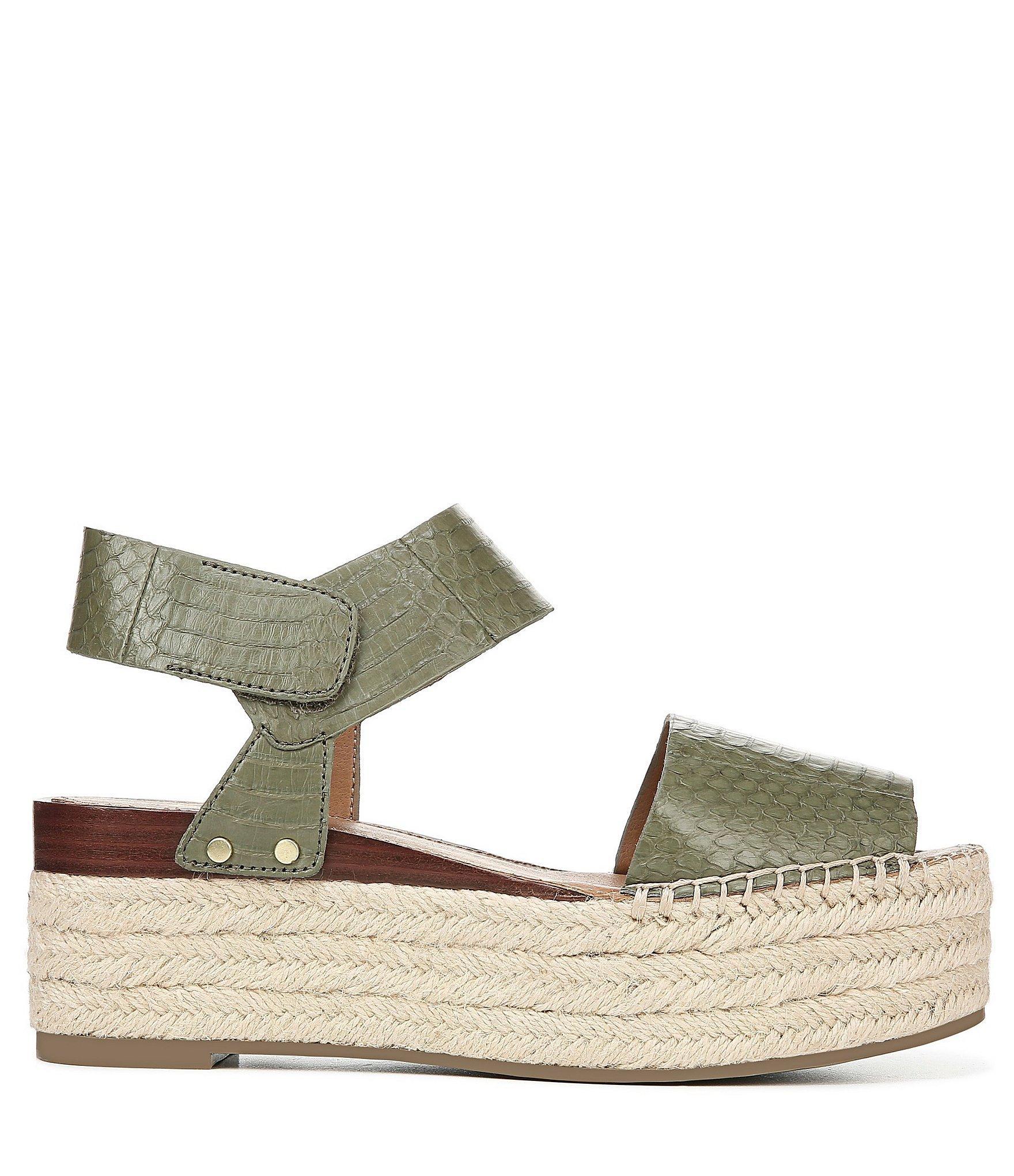 b4768504a3 Franco Sarto - Green Sarto By Leo2 Espadrille Snake Print Leather Flatform  Sandals - Lyst. View fullscreen